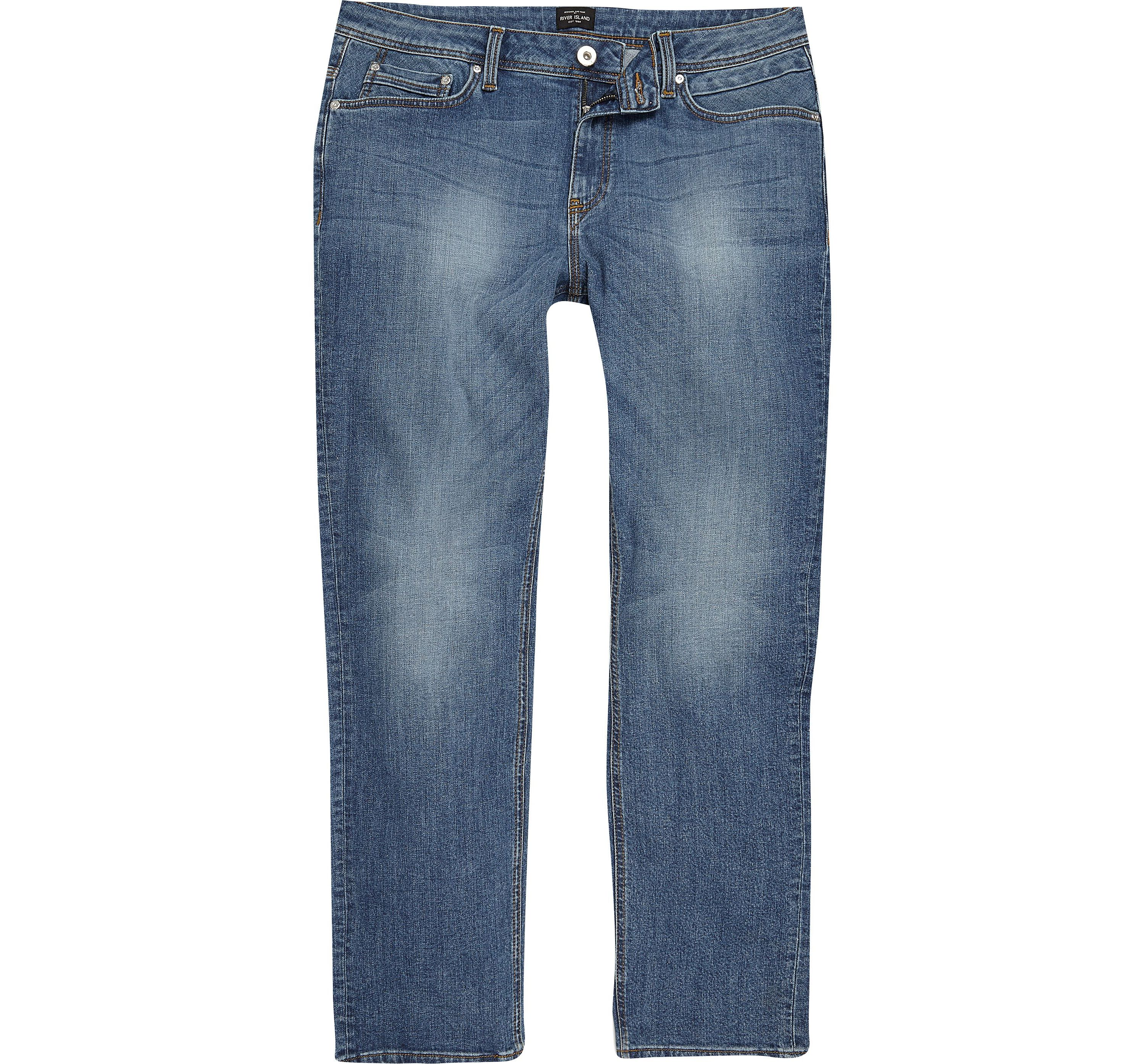 River Island Mens Big and Tall Blue Dean straight leg jeans