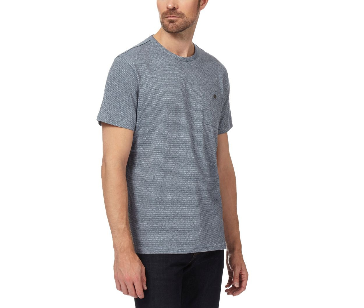 Hammond & Co. by Patrick Grant Light Blue Big and tall grey textured t-shirt