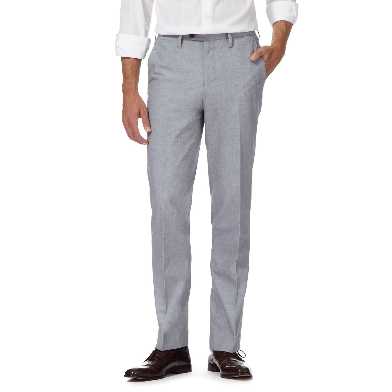 Hammond & Co. by Patrick Grant Light Blue Blue textured tailored fit trousers