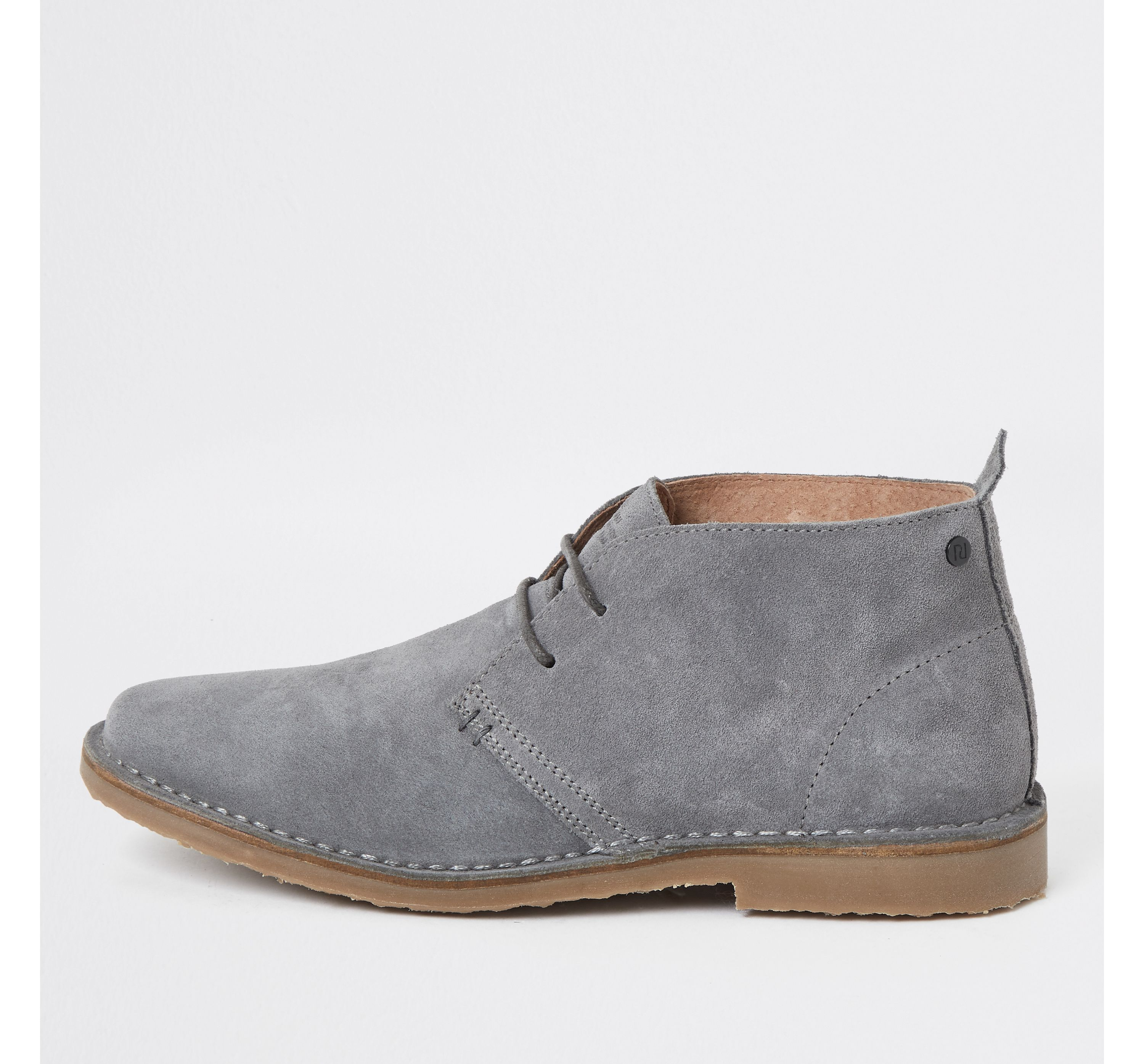 Mens River Island Grey suede wide fit