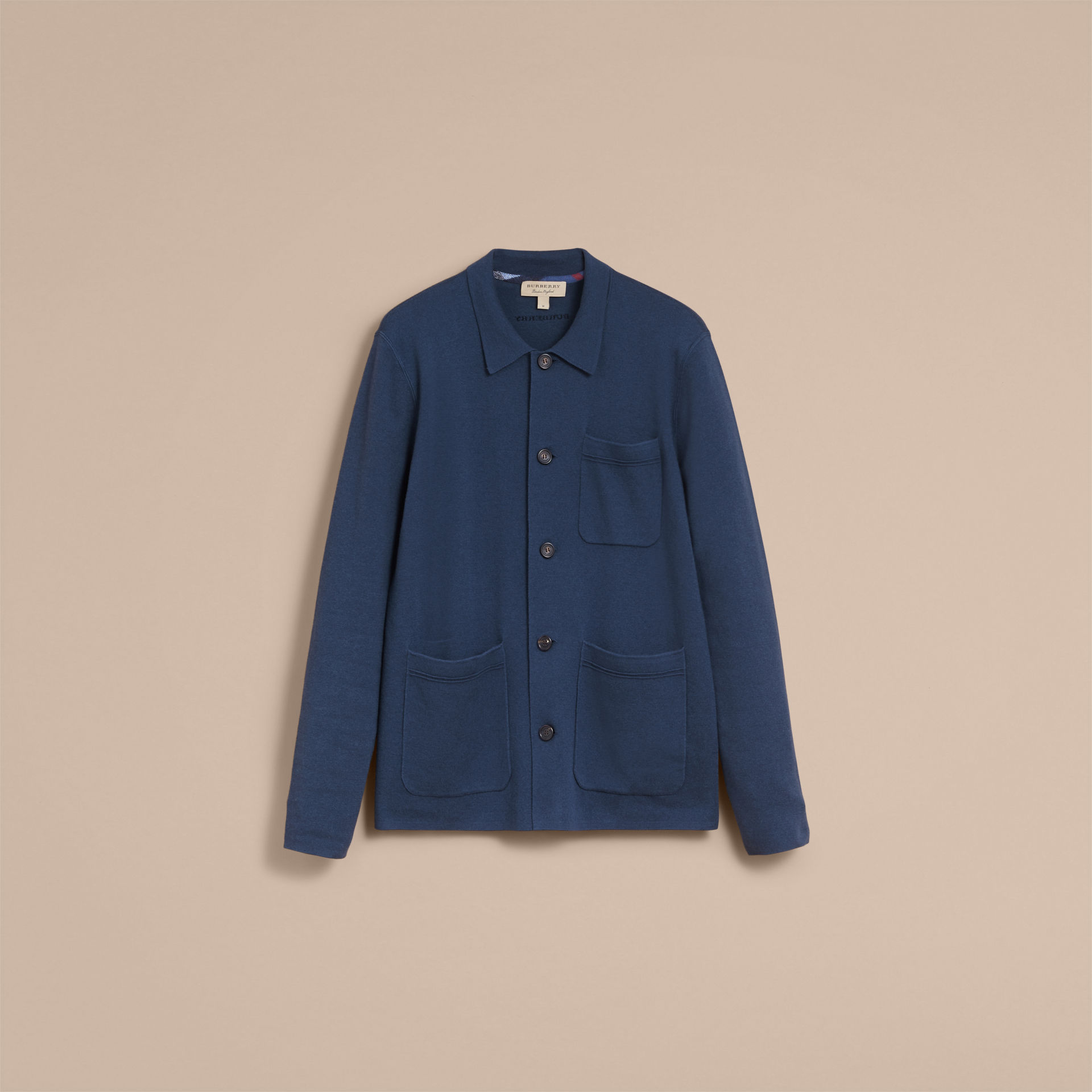 Burberry Steel Blue Knitted Cashmere Cotton Workwear Jacket