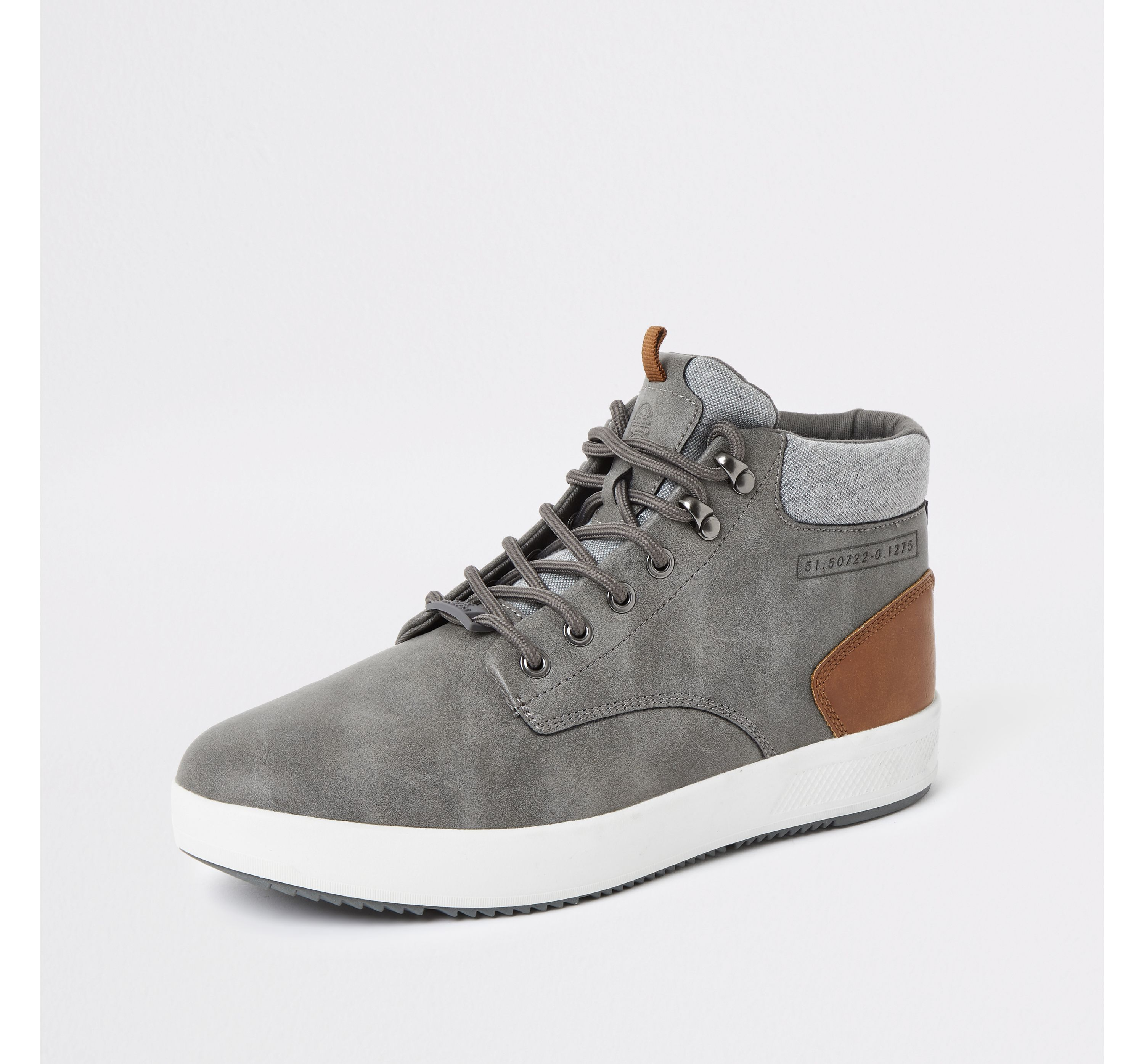 Mens River Island Grey faux leather mid