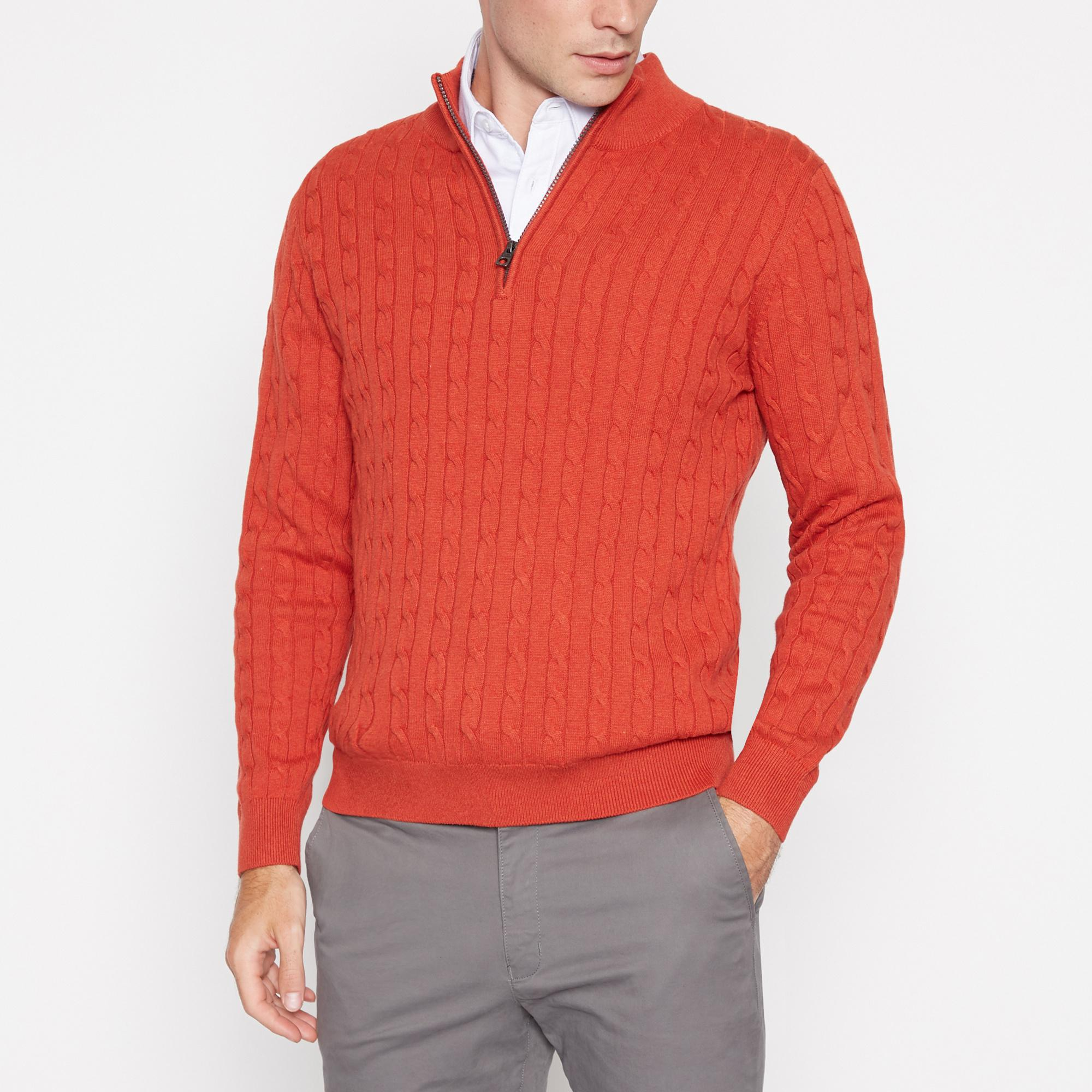 Orange Cable Knit Sweater By Racing Green Thread Com
