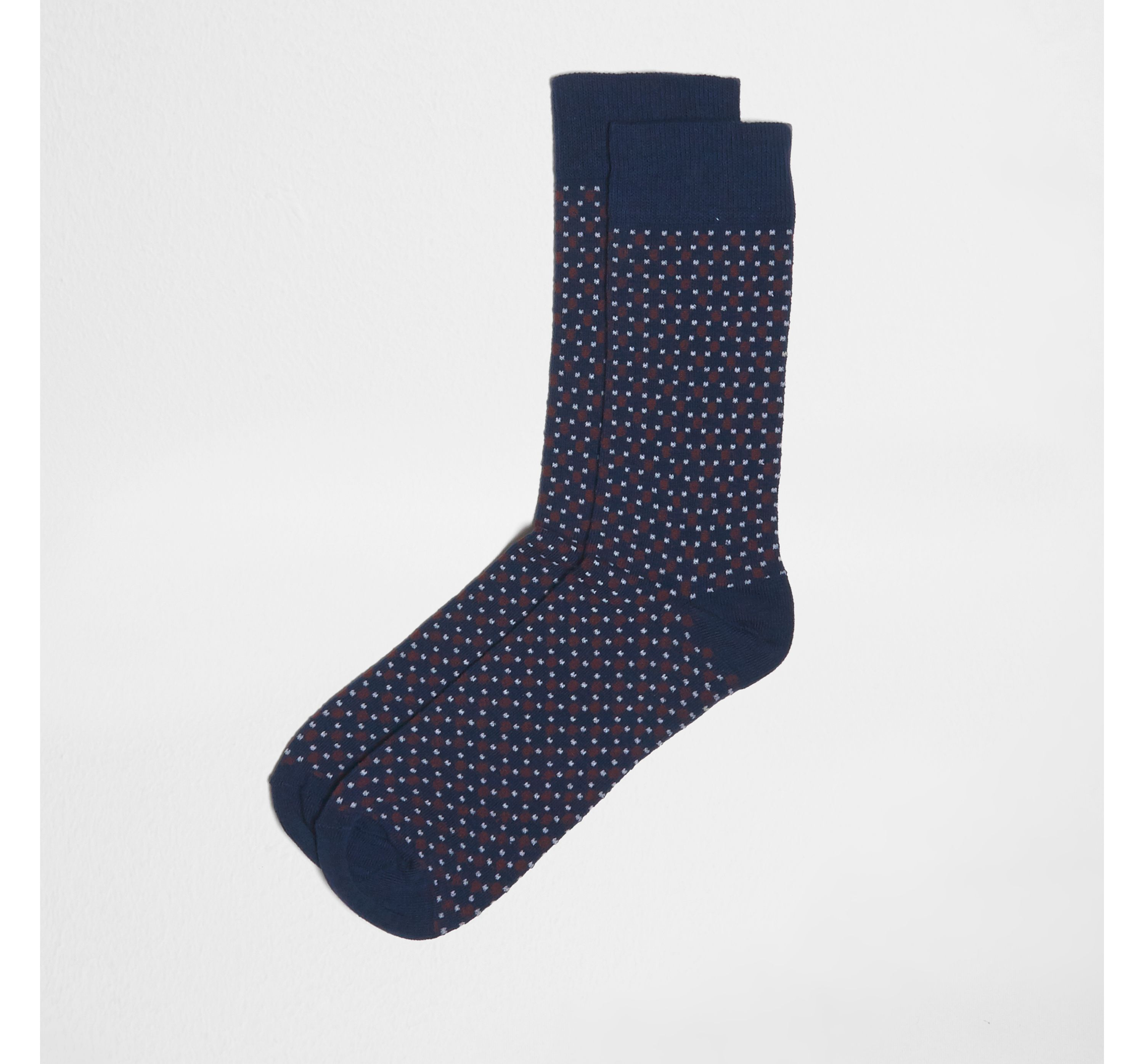 River Island Mens Navy geometric spot print socks