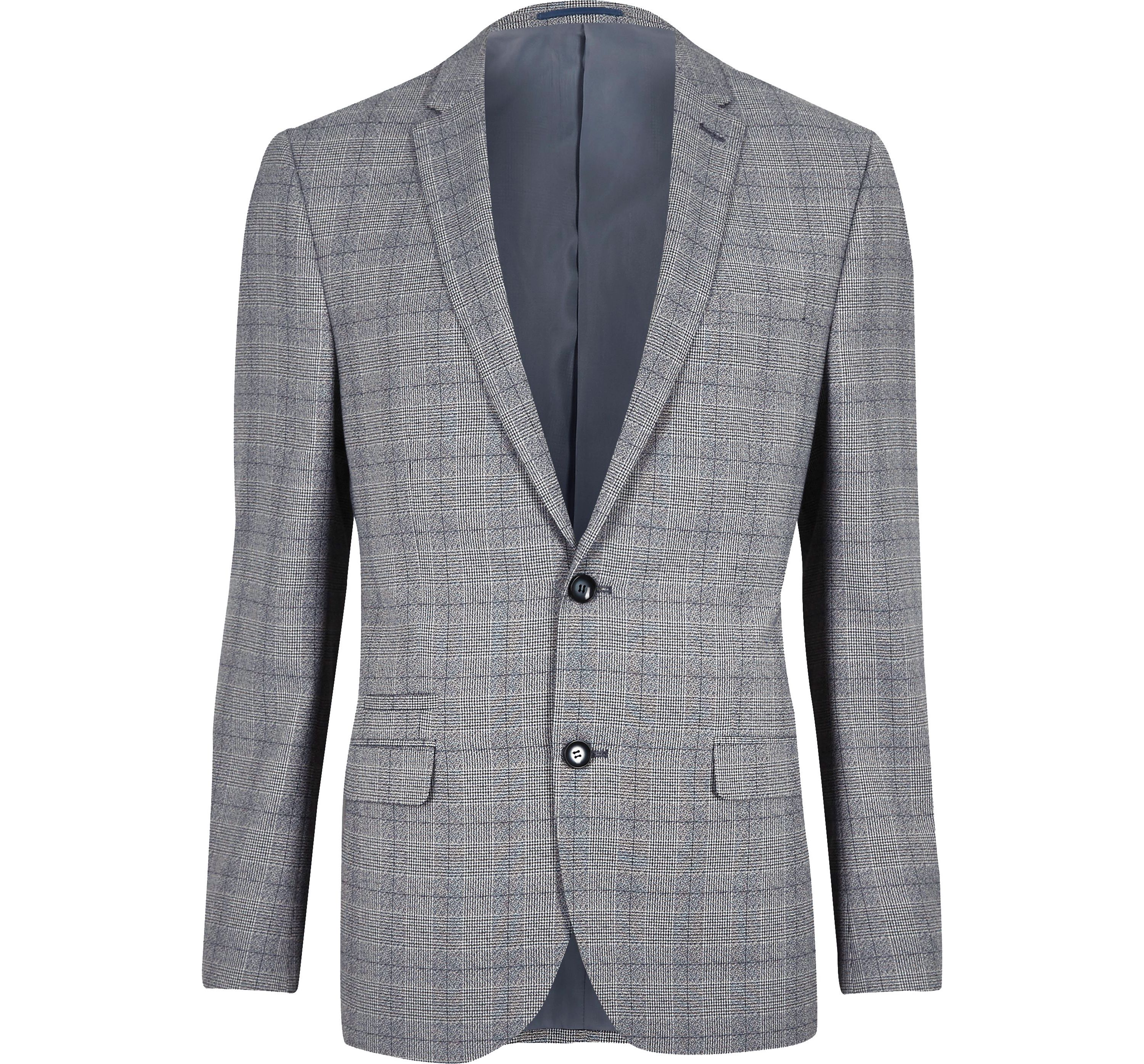 River Island Mens Grey check slim fit suit jacket