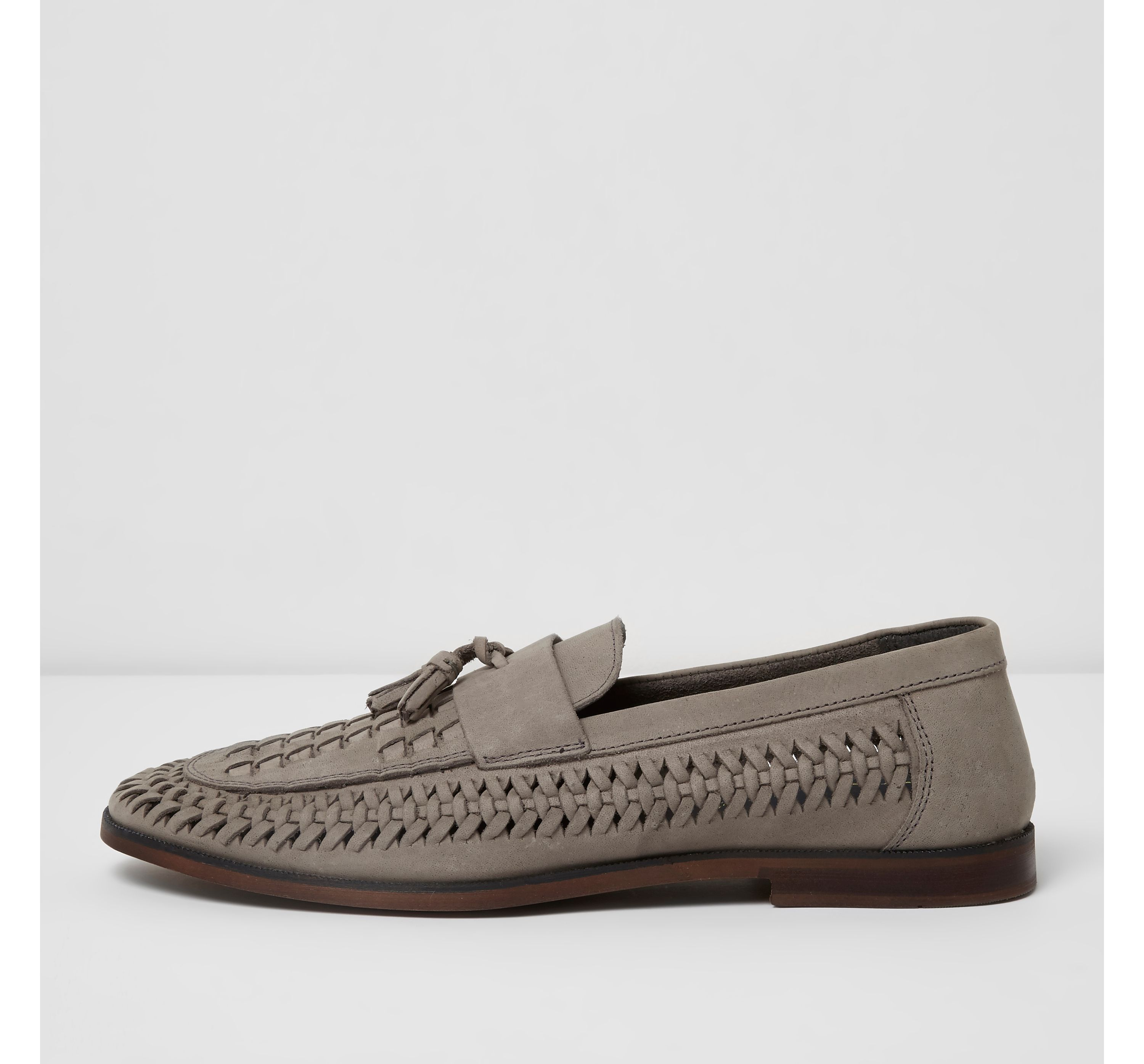 River Island Mens Grey woven leather loafers