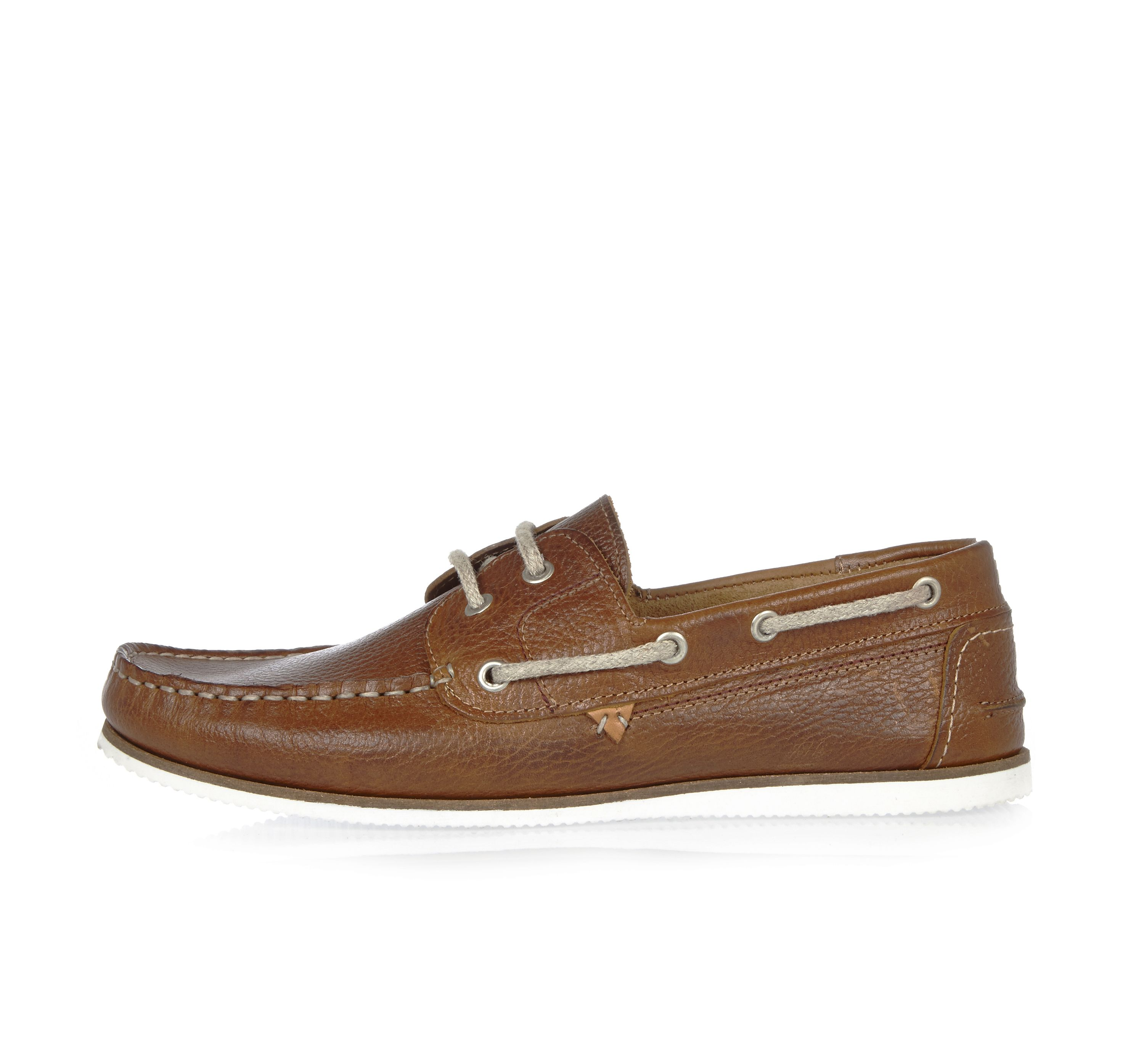 River Island Mens Tan leather boat shoes