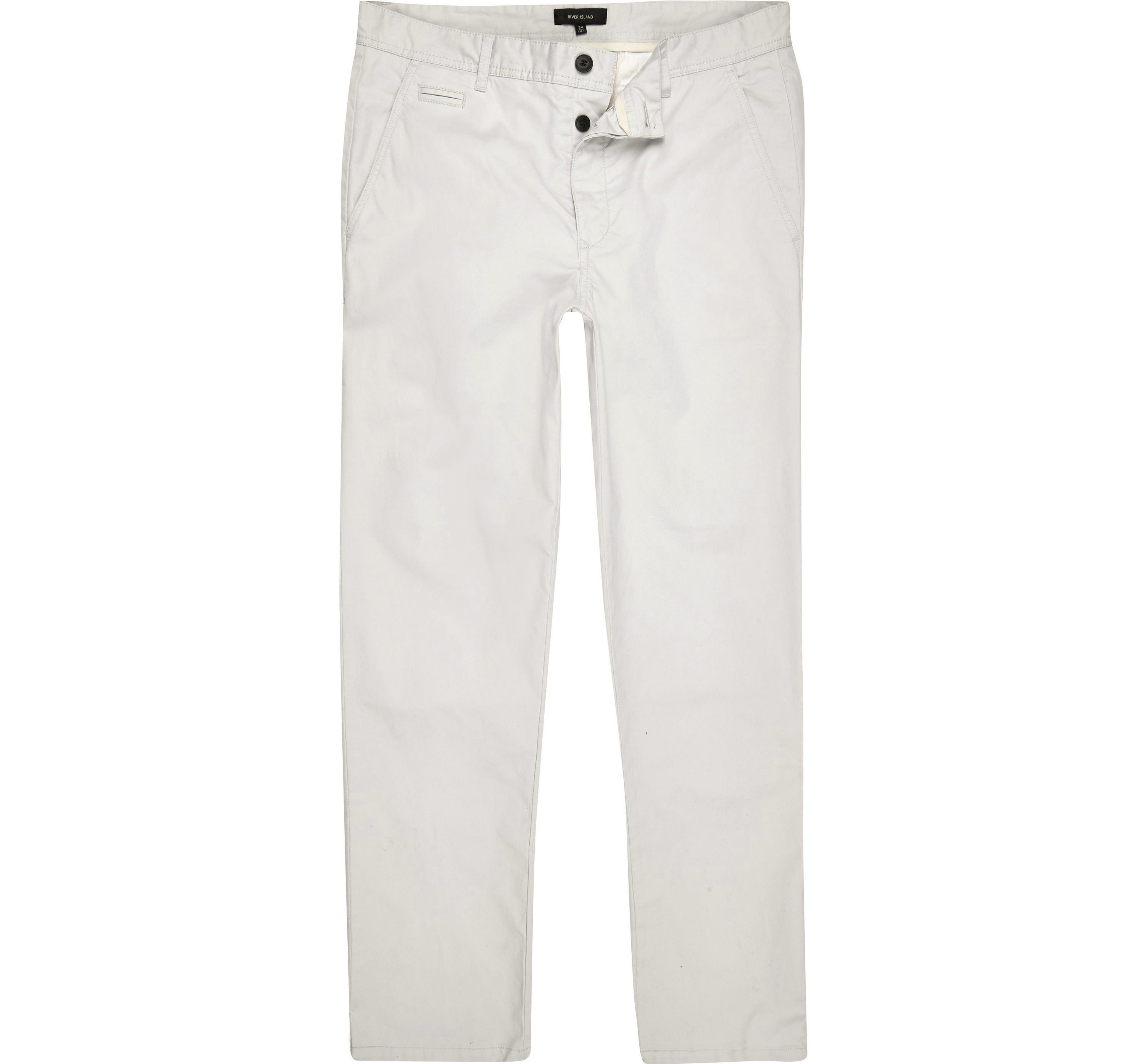 River Island Mens Grey stretch slim fit chino trousers