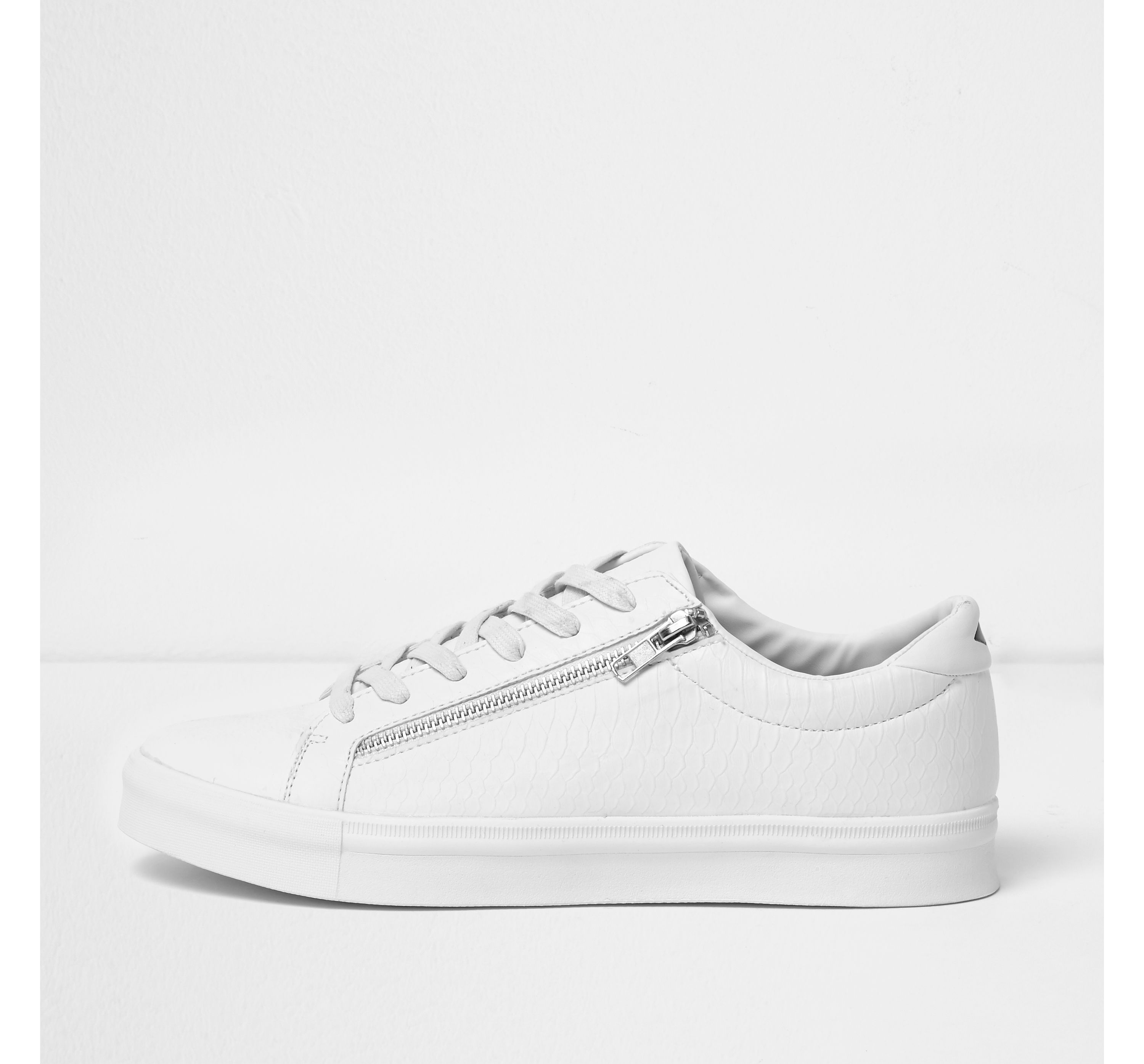 River Island Mens White croc zip trainers