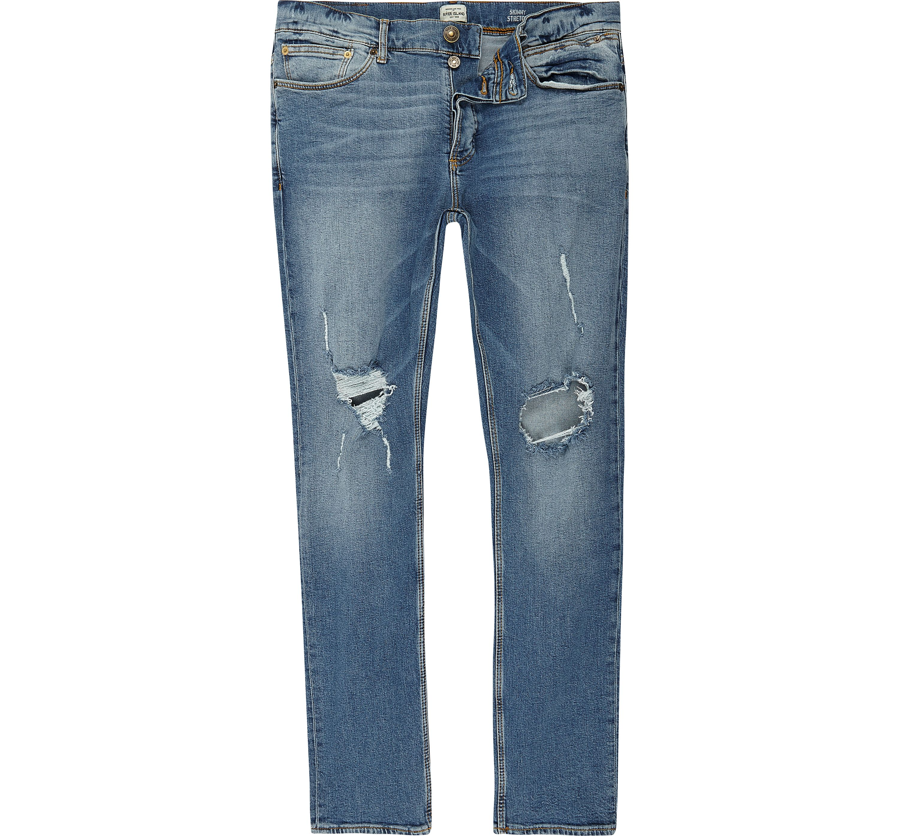 River Island Mens Blue wash ripped Sid skinny jeans