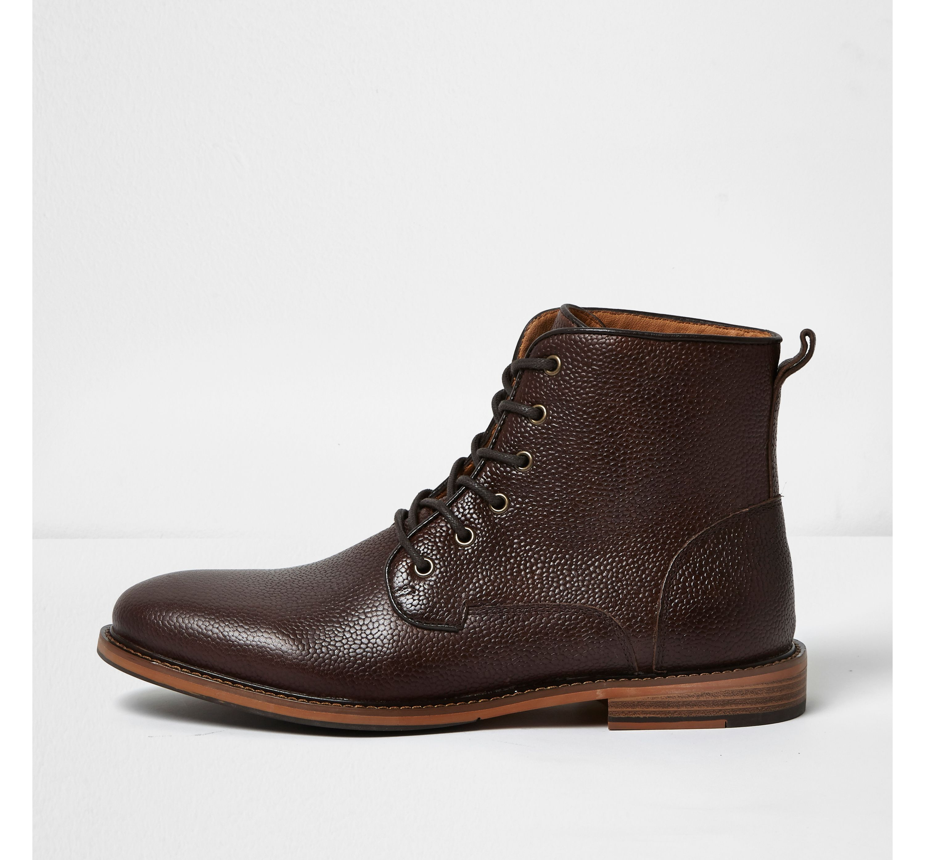 River Island Mens Dark Brown tumbled leather boots