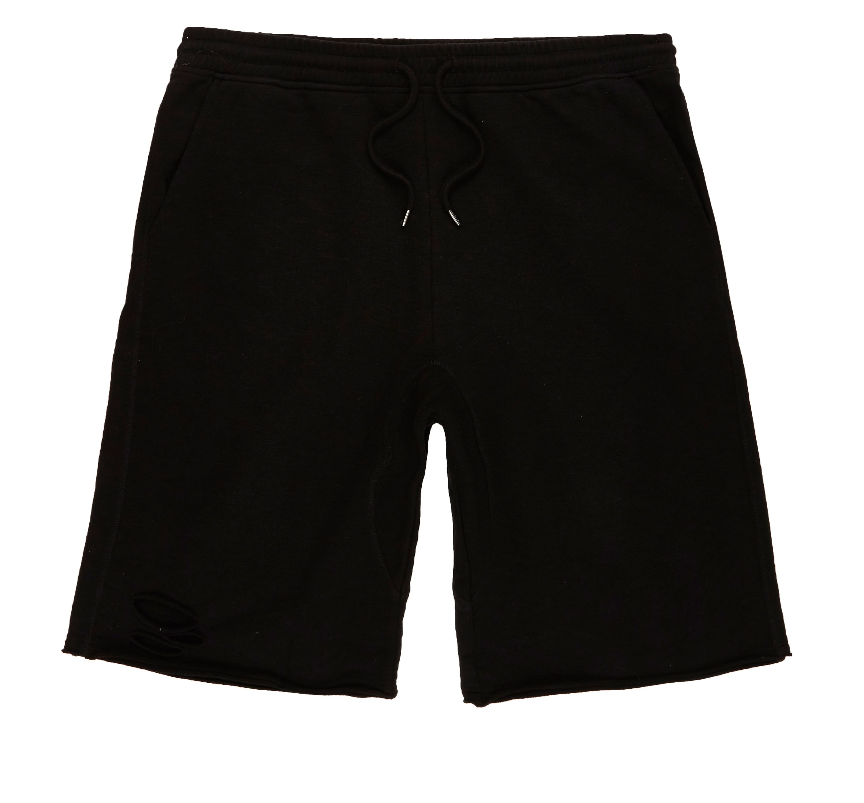 River Island Mens Black slub ripped shorts