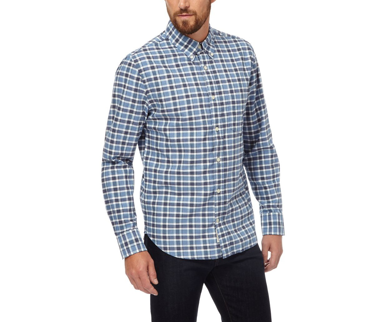 Hammond & Co. by Patrick Grant Blue Big and tall blue checked long sleeved shirt