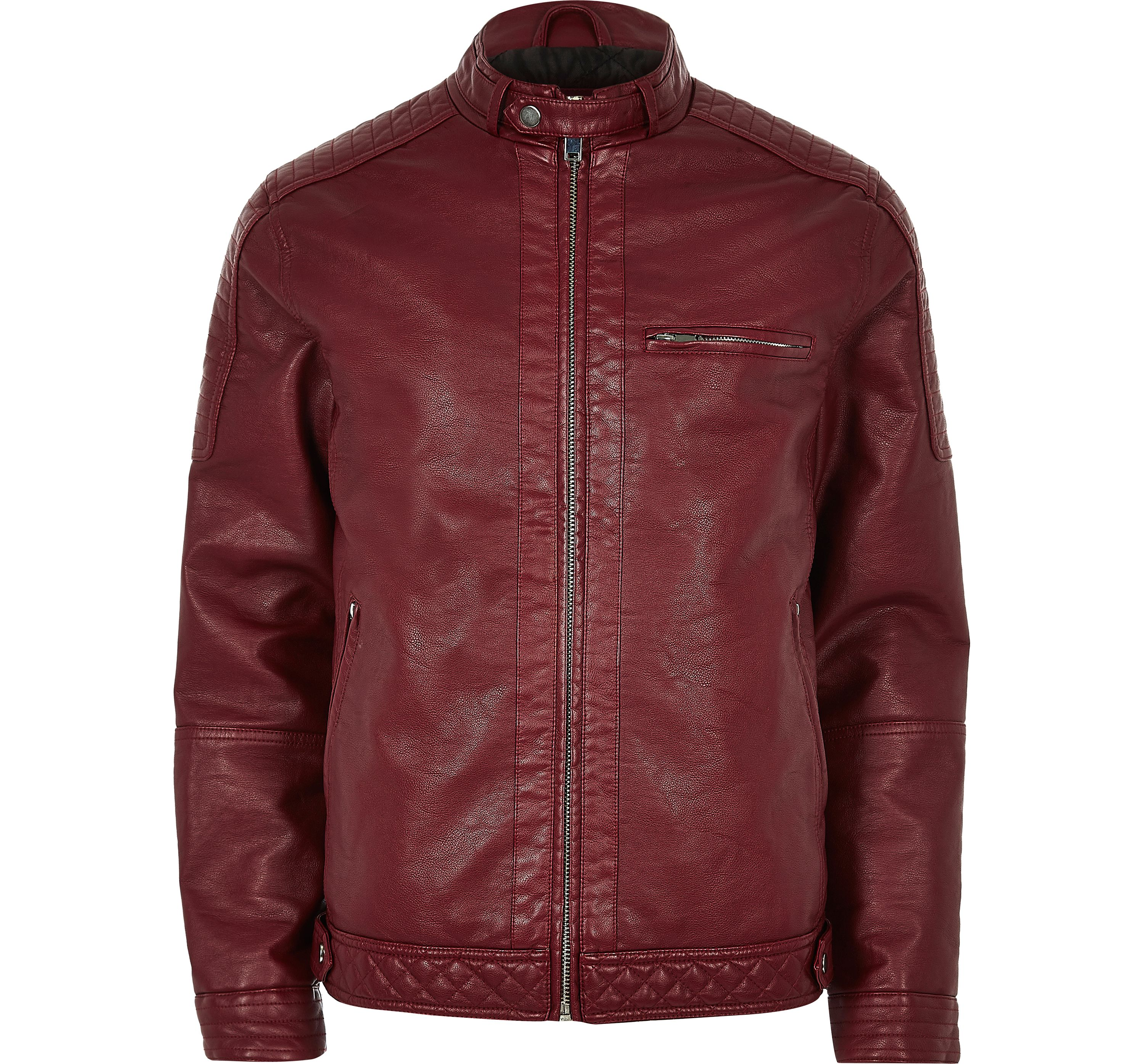 679e38b7a94f3 Mens Red faux leather racer jacket by Riv... — Thread