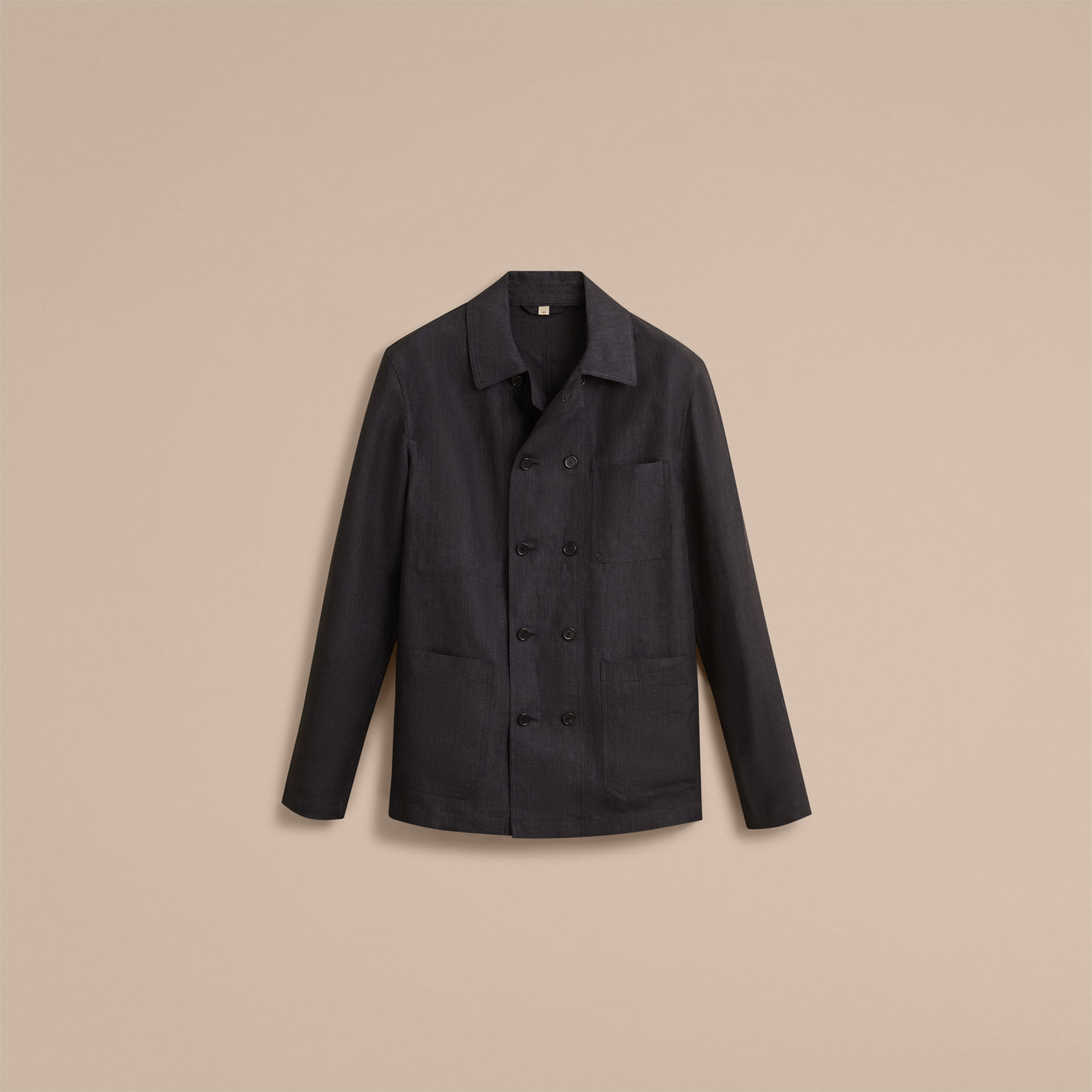 Burberry Charcoal Linen Double-breasted Artist Jacket