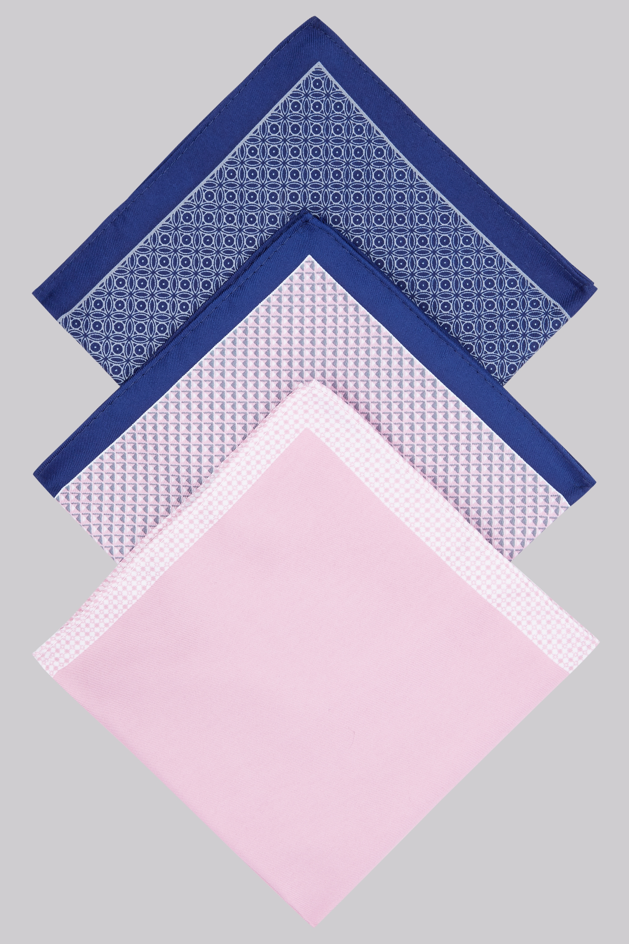 Moss Bros Moss London Pink 3 Pack Pocket Squares