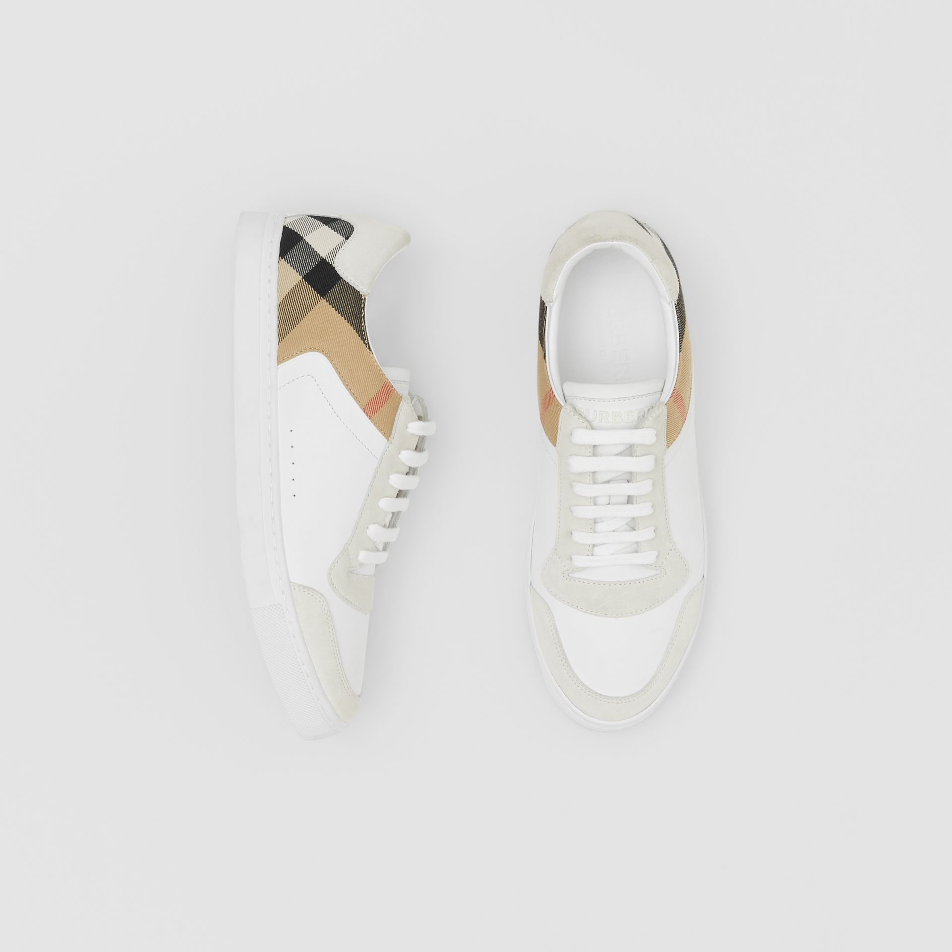 Leather, Suede and House Check Sneakers