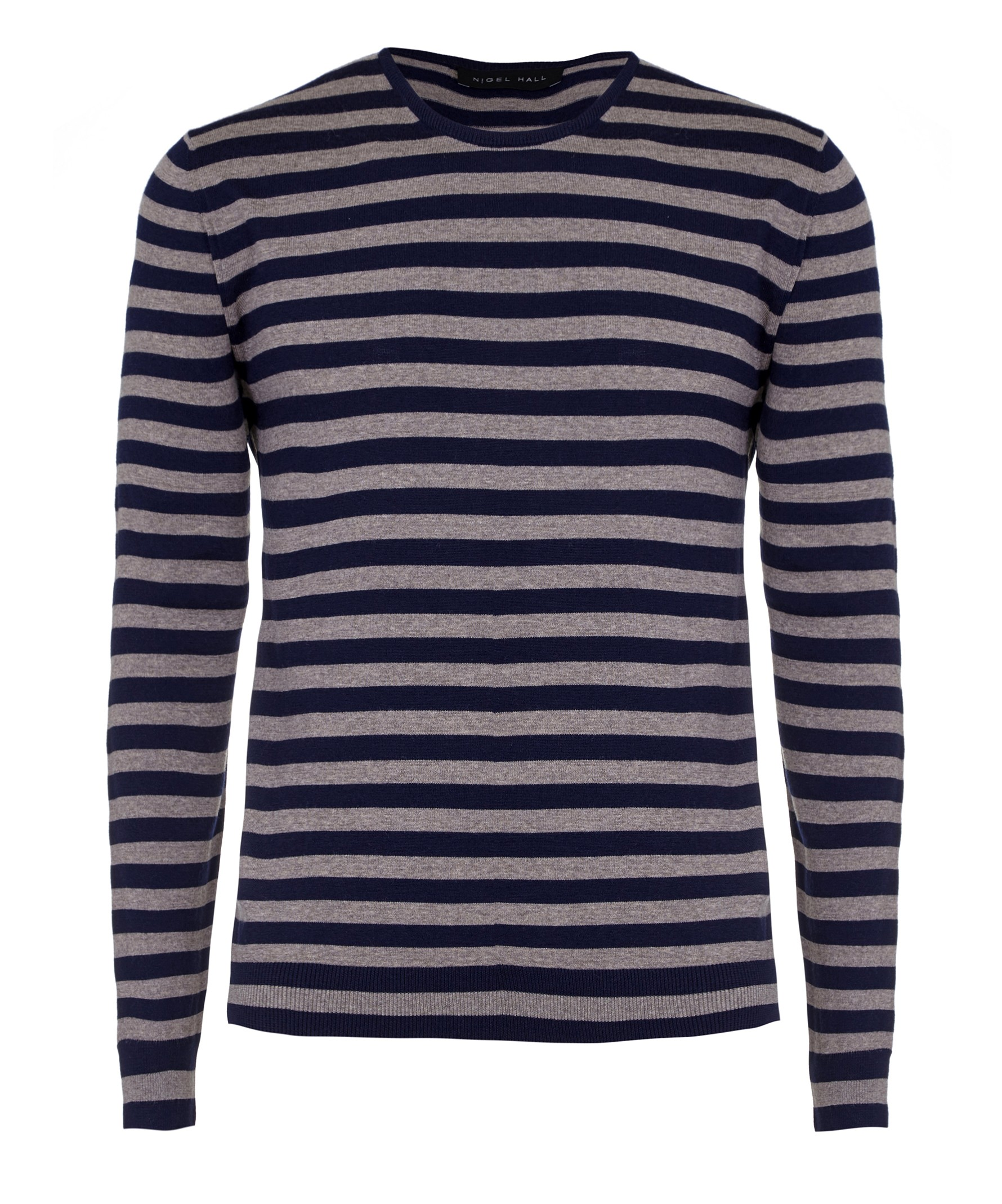 Nigel Hall Navy Stripe Navy and Pebble Striped Crew Neck Sweater (Morton)