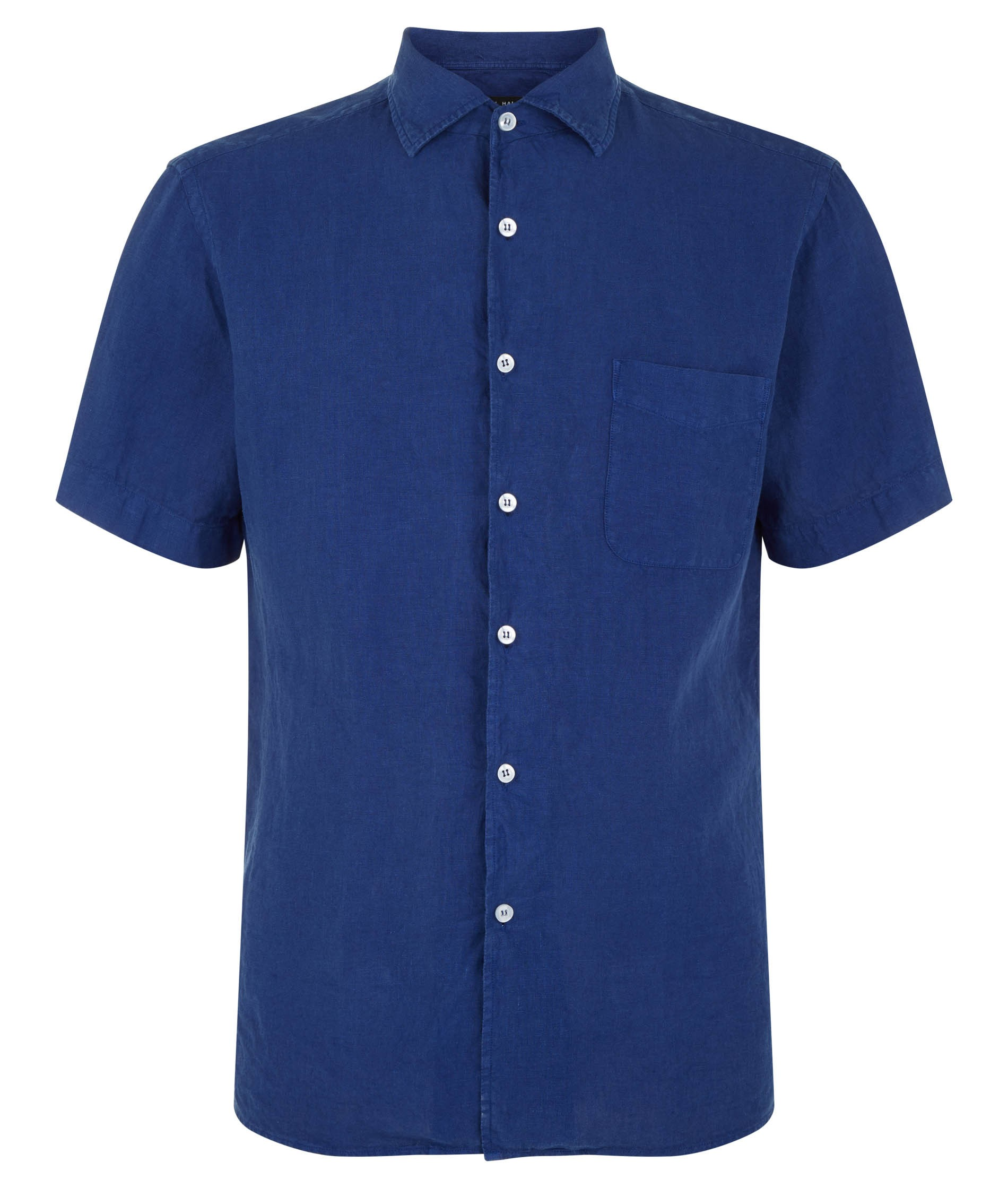 Nigel Hall Navy Short Sleeve Linen Shirt (Remo)