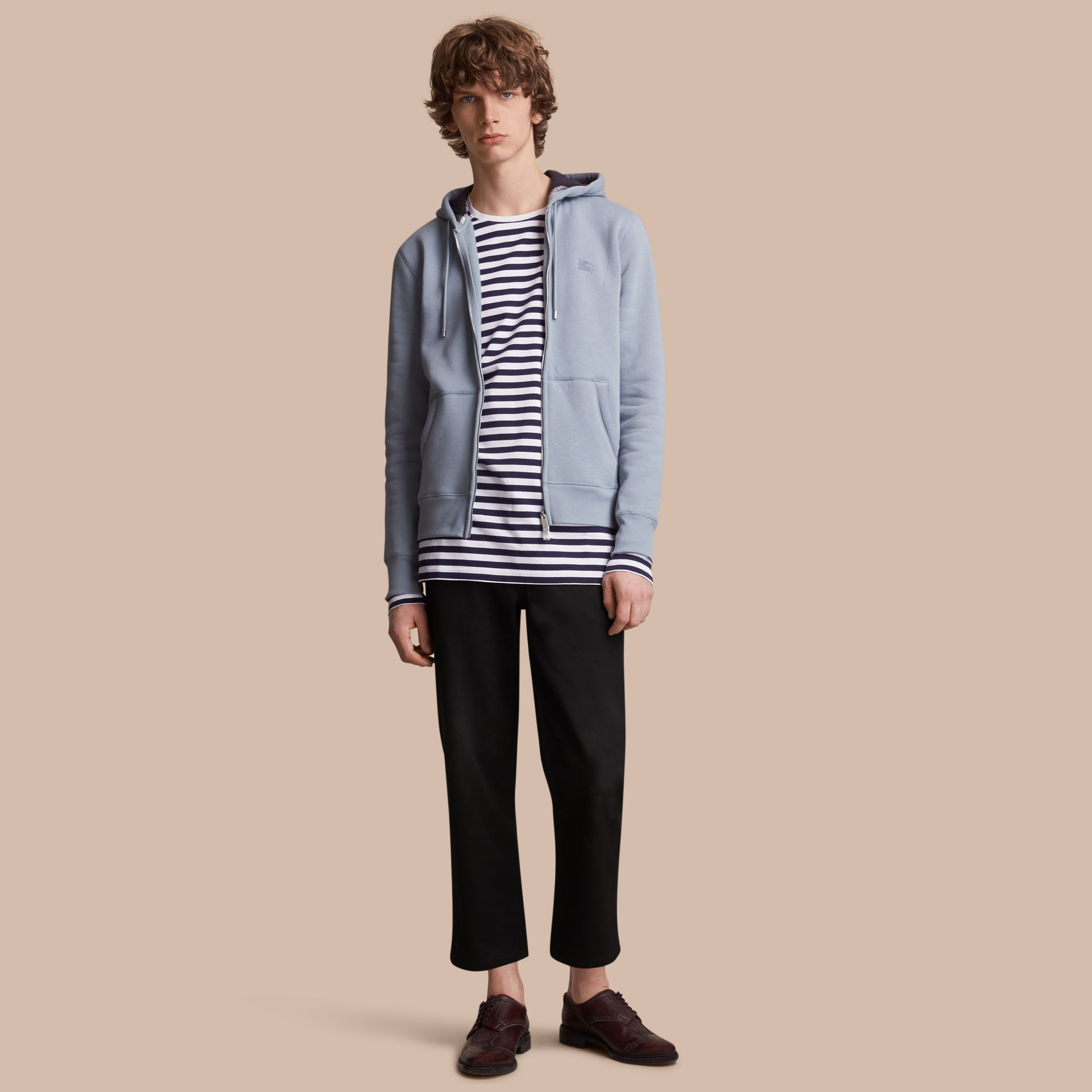 Burberry Slate Blue Hooded Cotton Jersey Top
