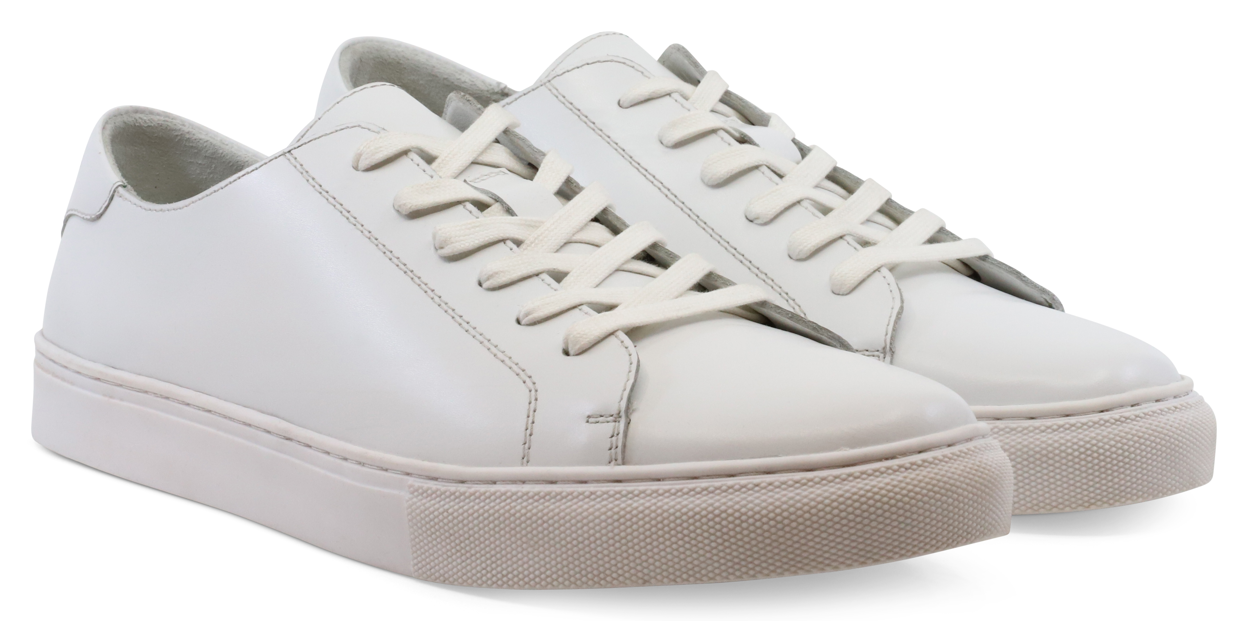 Smart White Leather Trainers by