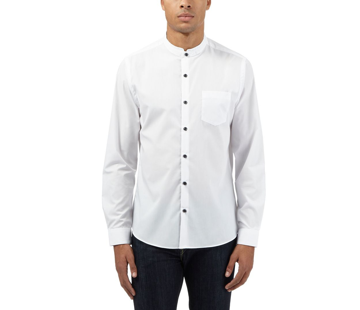 Red Herring White smart grandad collar shirt
