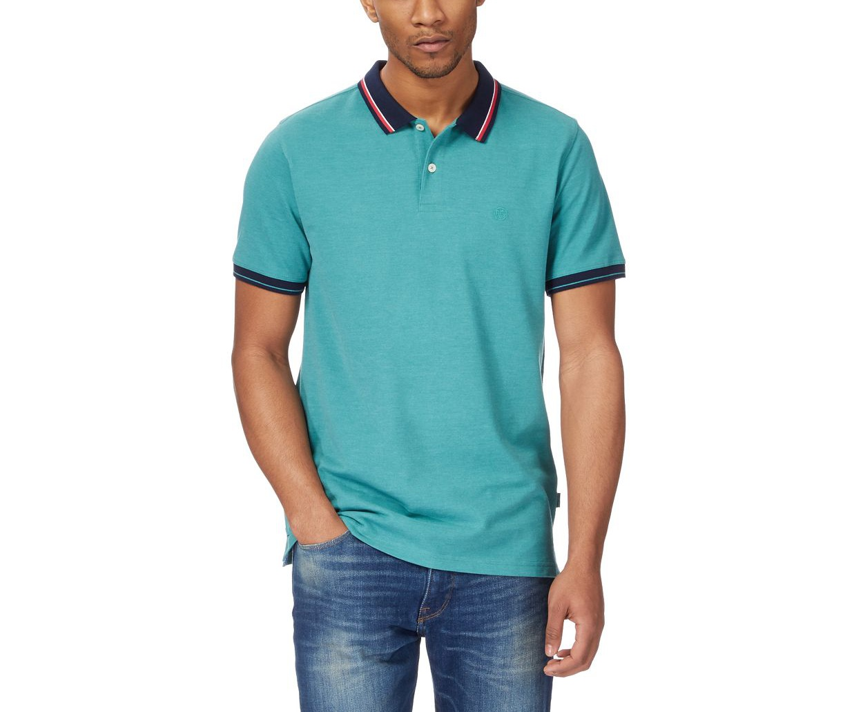 Racing Green Green Big and tall green contrasting tipping polo shirt