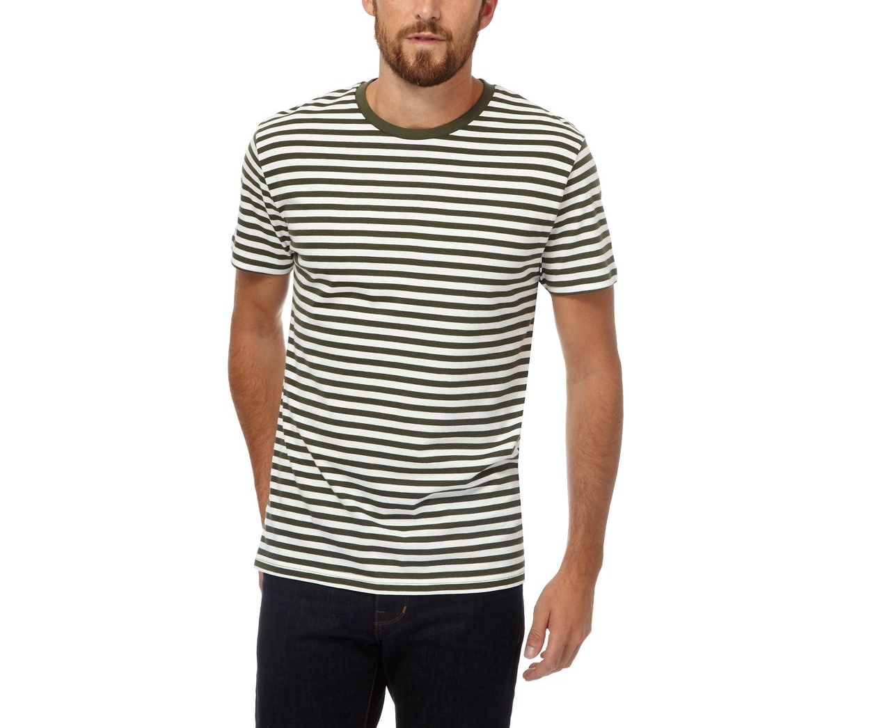 J by Jasper Conran Khaki Big and tall white and khaki striped t-shirt