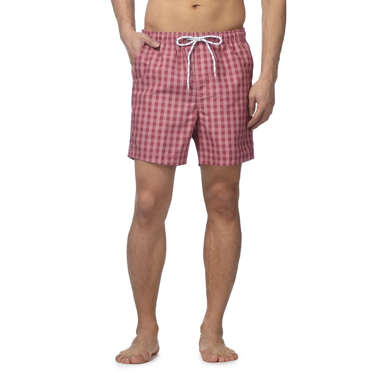 Maine New England Pink gingham check shorts
