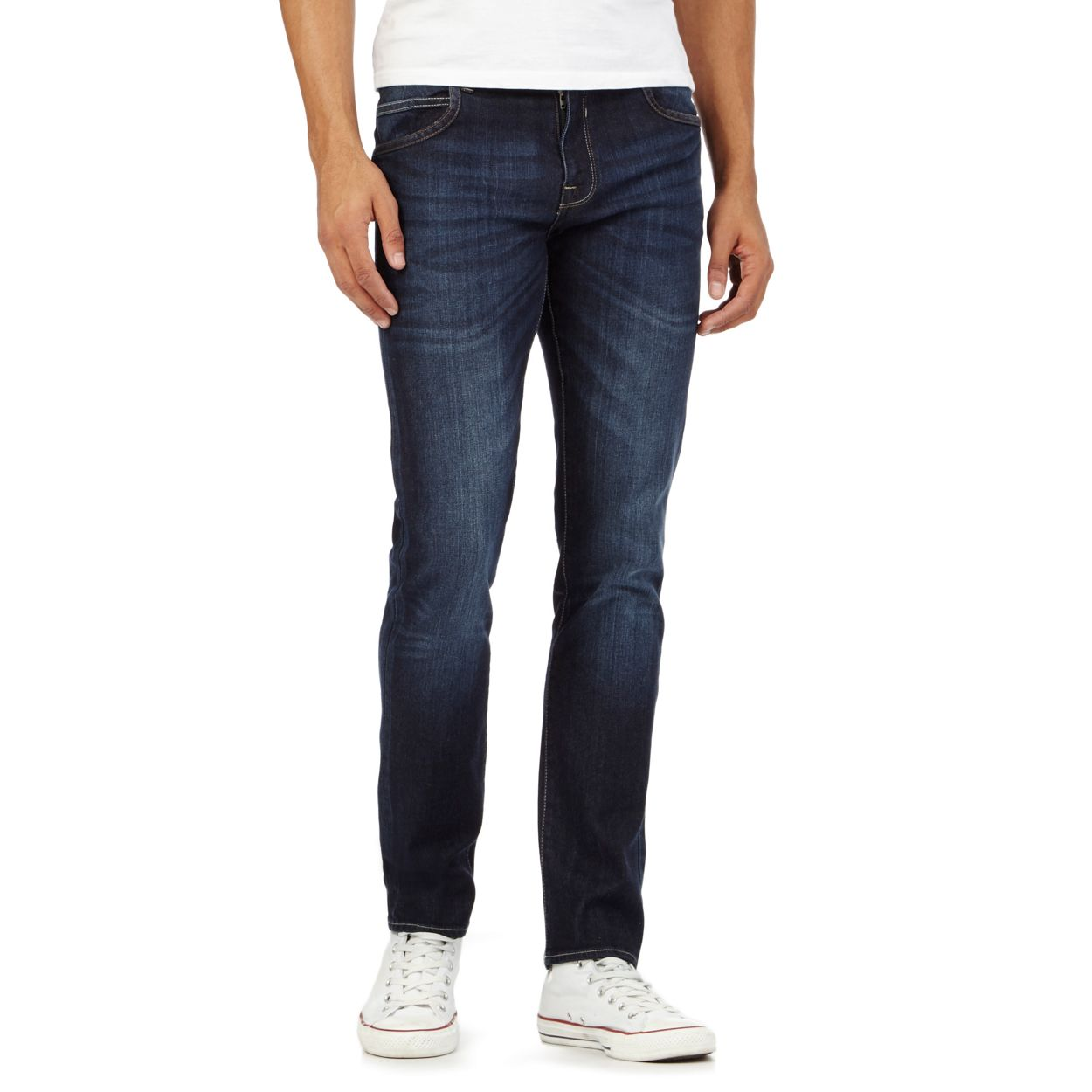 Red Herring Dark blue skinny fit mid wash jeans
