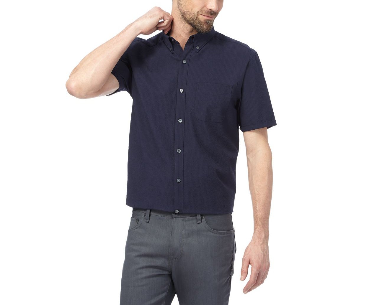 J by Jasper Conran Navy Big and tall navy seersucker shirt