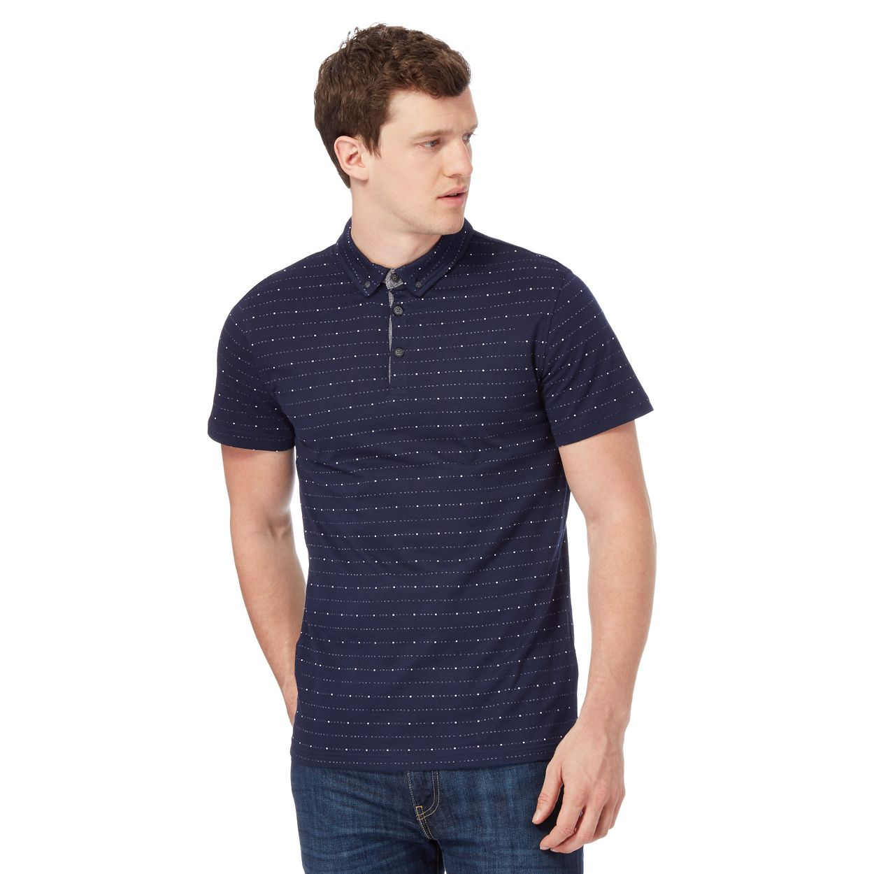 Red Herring Navy striped polo shirt
