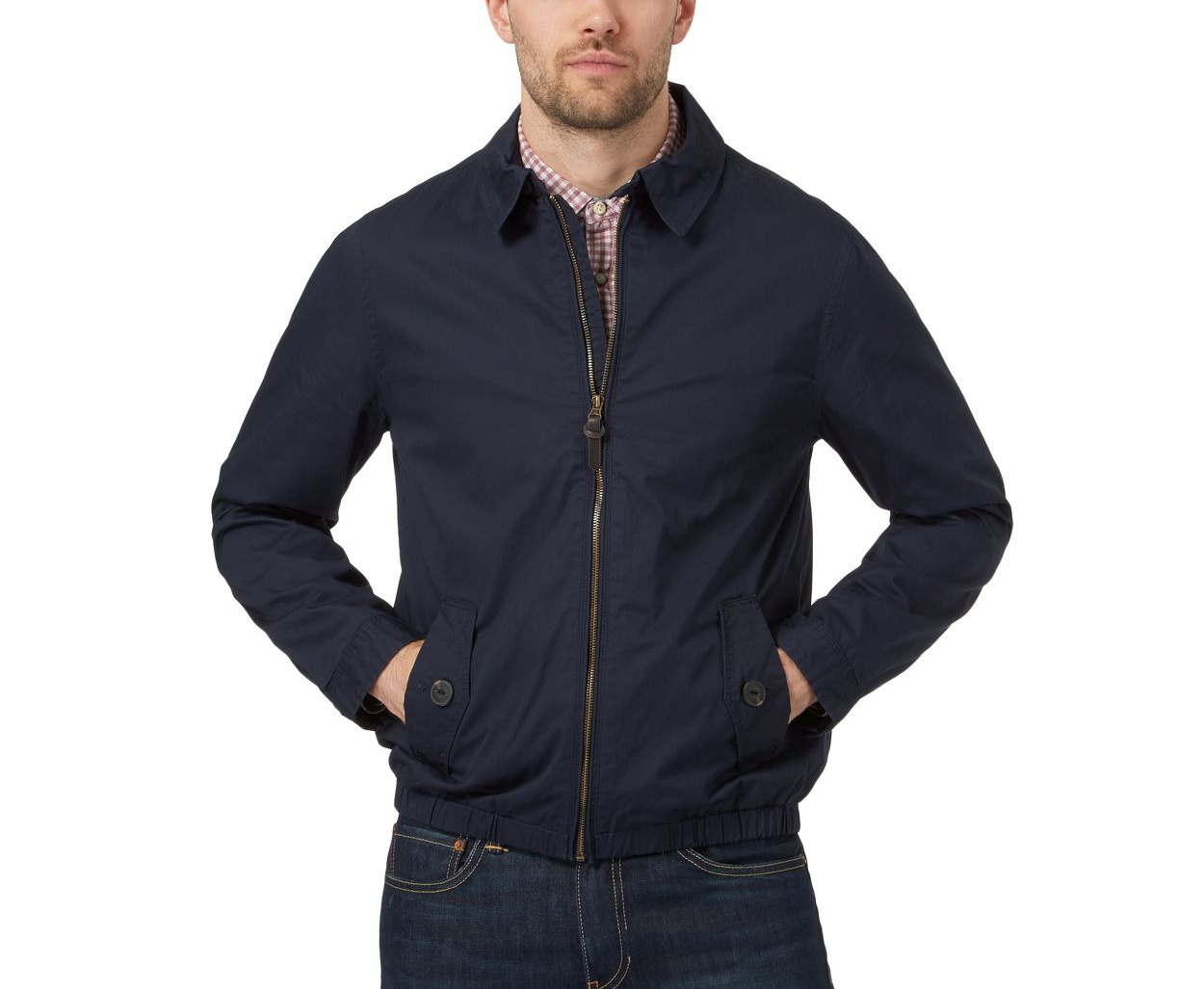 Red Herring Navy Big and tall navy collared harrington jacket