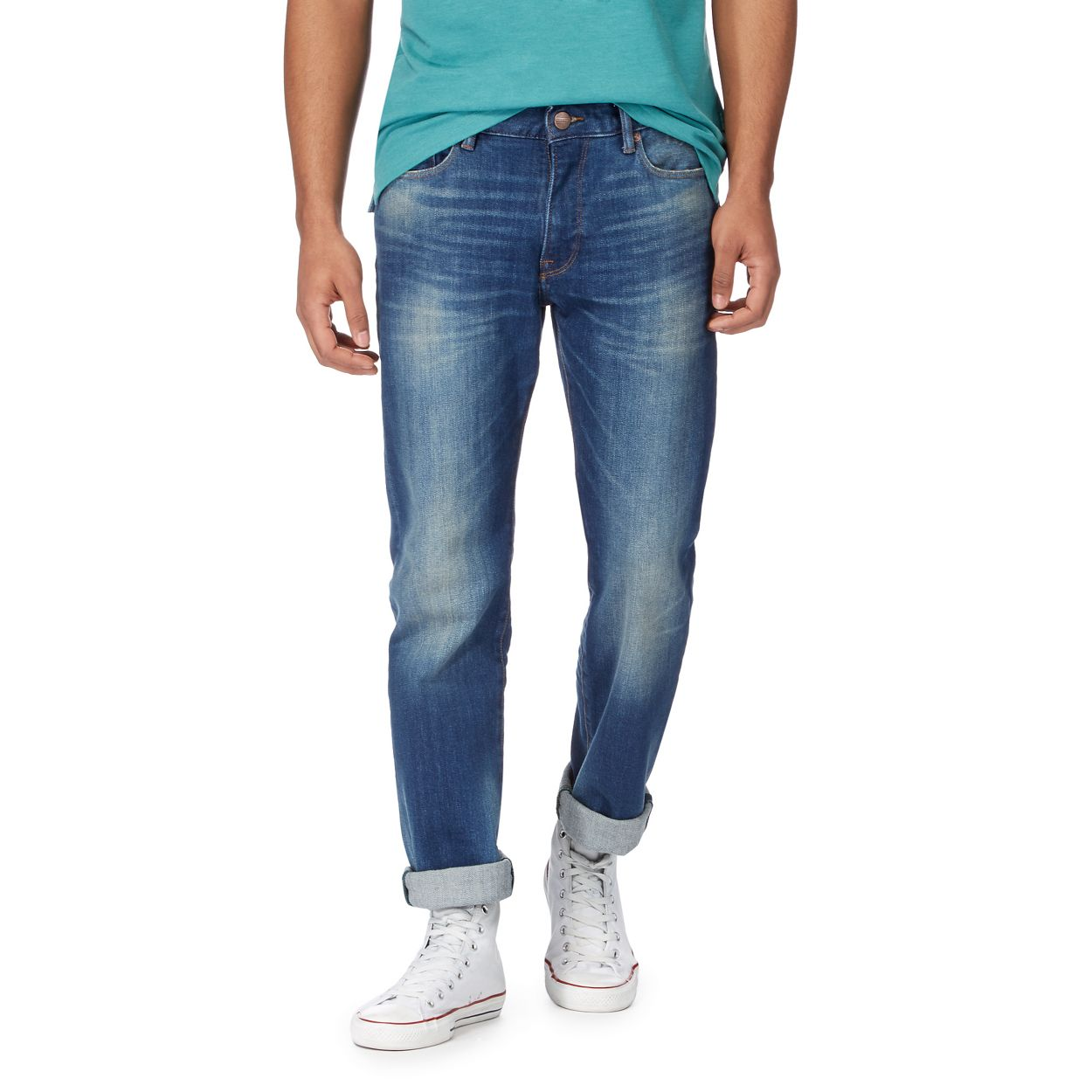 Racing Green Mid Blue Blue mid wash straight leg jeans