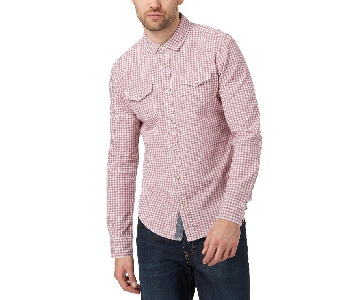 Red Herring Red gingham print slim fit shirt