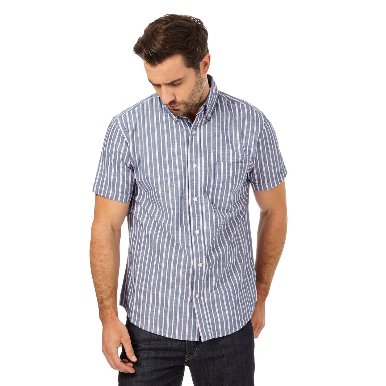 Maine New England Navy striped regular fit