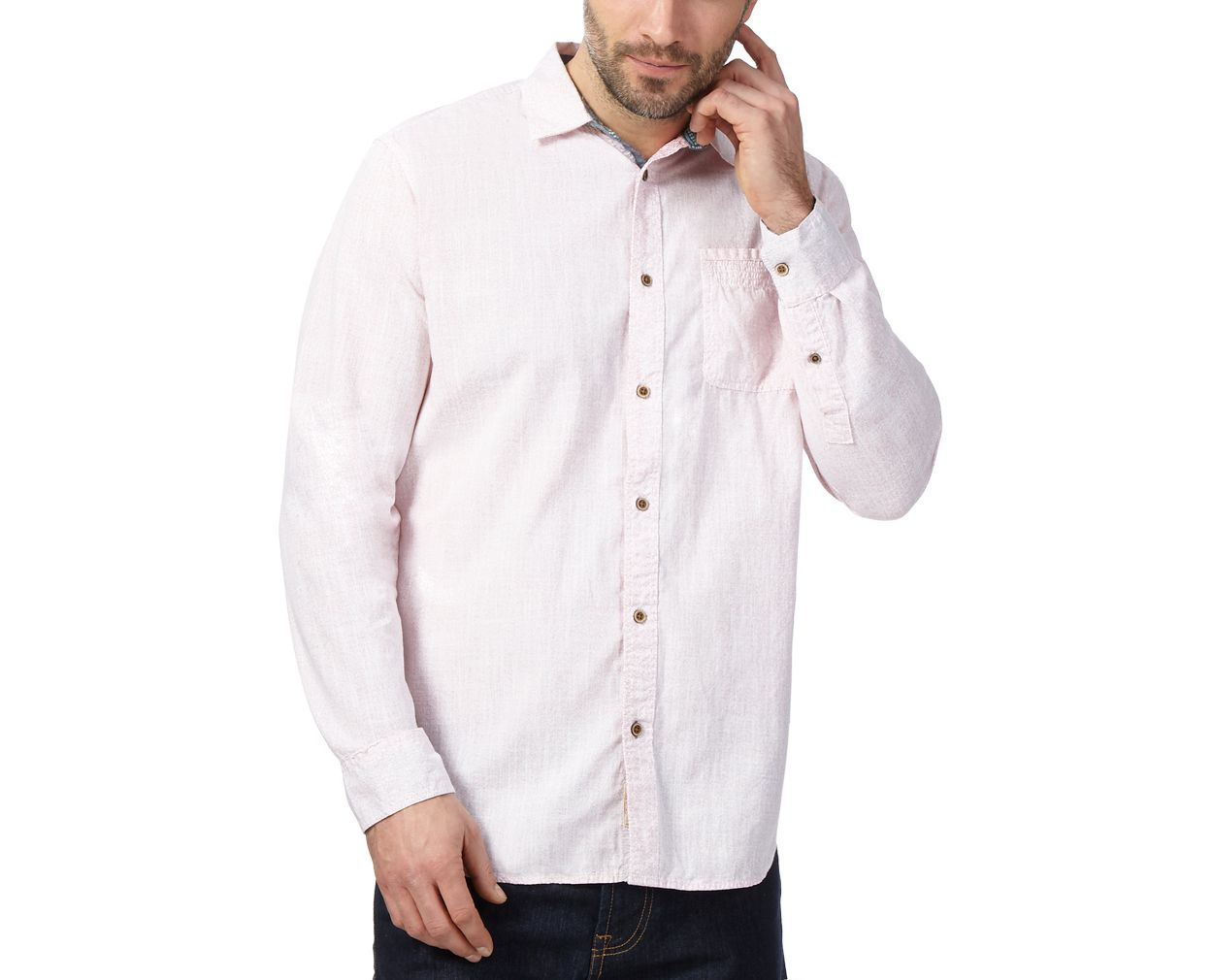 Mantaray Pink Big and tall pink printed shirt