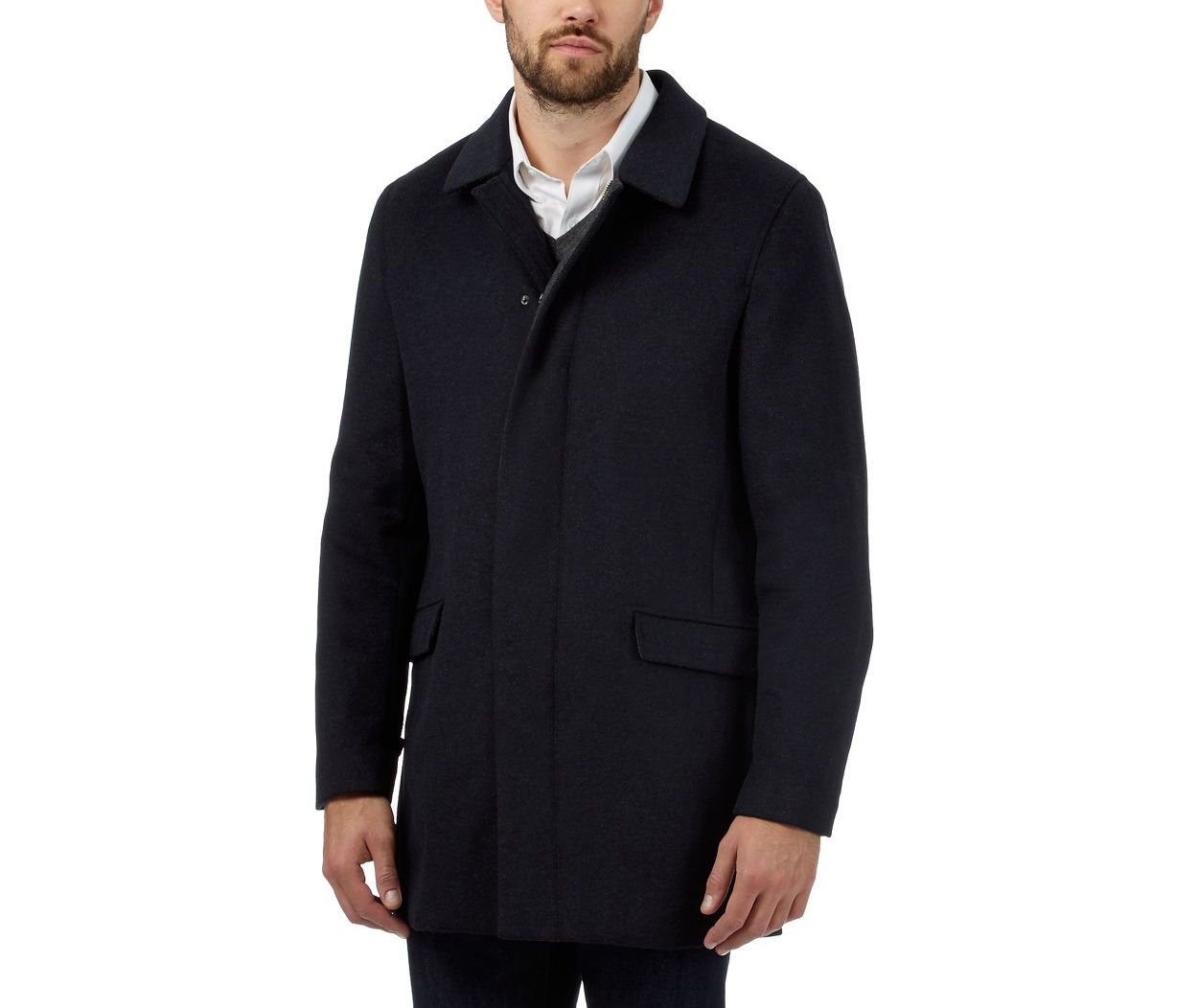 J by Jasper Conran Navy wool blend coat
