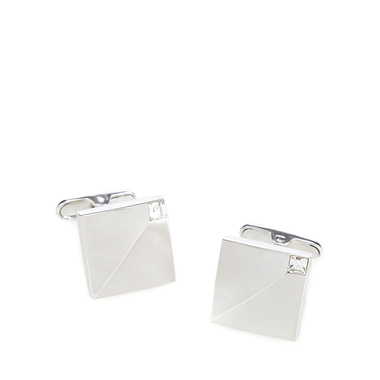 J by Jasper Conran Silver mixed finish crystal cufflinks in a gift box