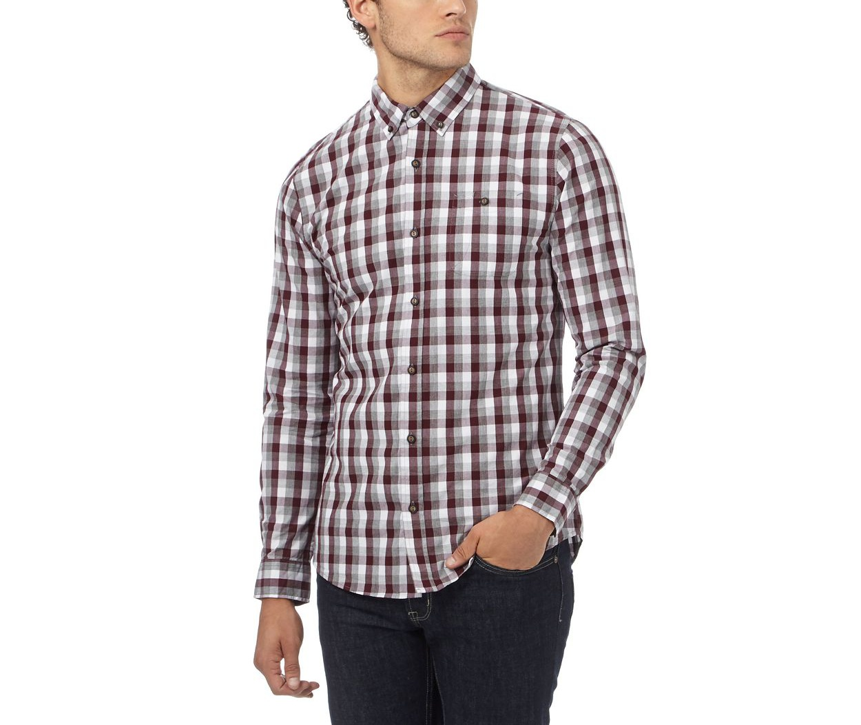 Red Herring Wine Red check print gingham shirt