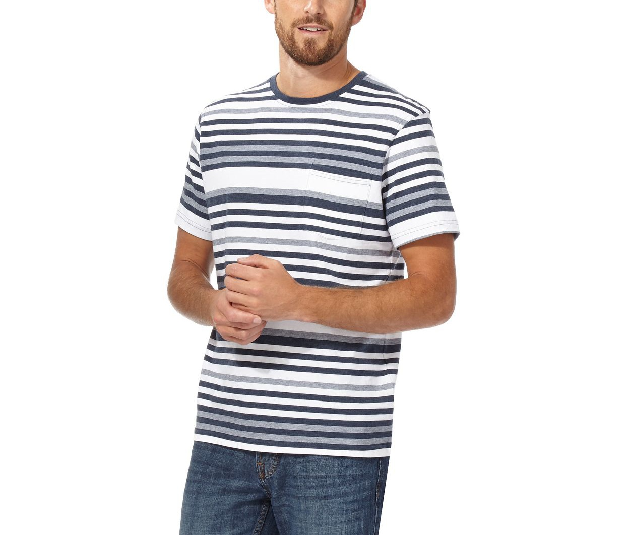 Maine New England White Navy and white striped t-shirt