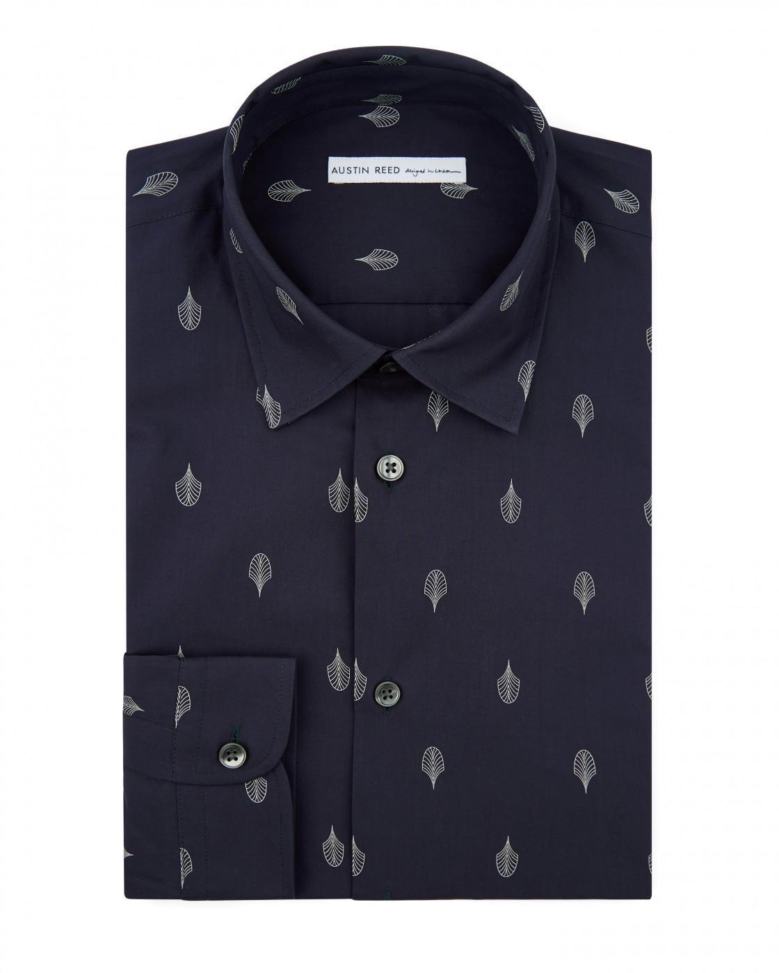 Fan Deco Printed Cotton Shirt By Austin Reed Thread Com