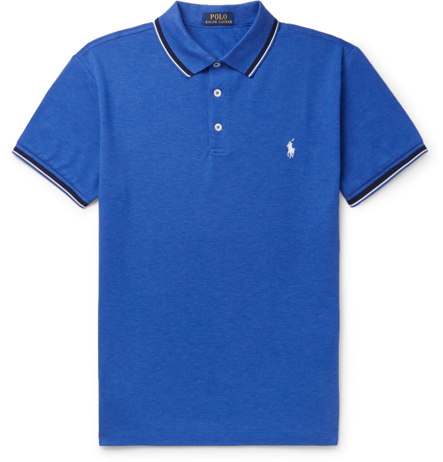 Slim-Fit Contrast-Tipped Stretch-Cotton Piqué Polo Shirt by Polo Ralph Lauren