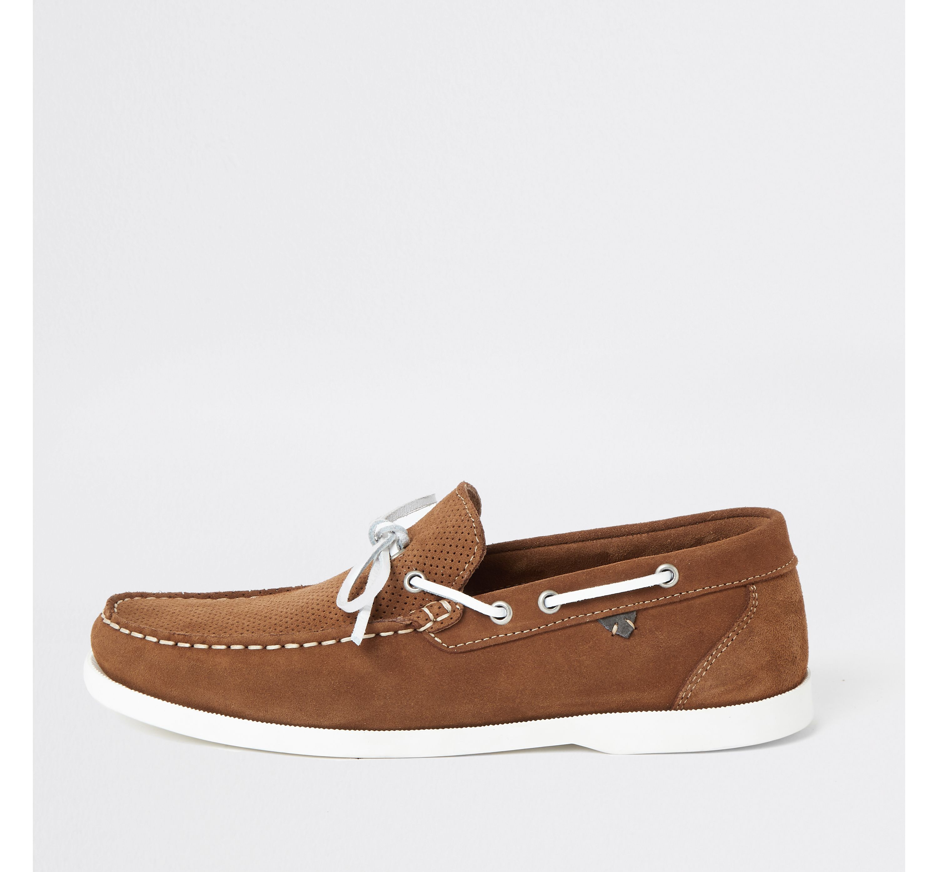Brown suede boat shoes by River Island