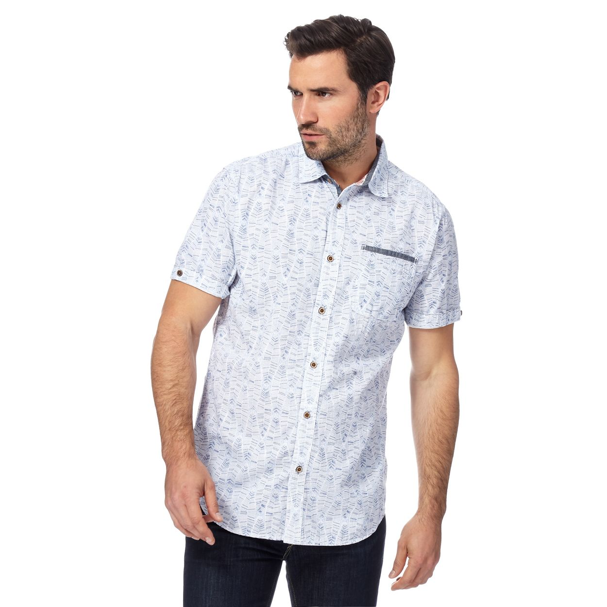 Mantaray Blue textured regular fit shirt