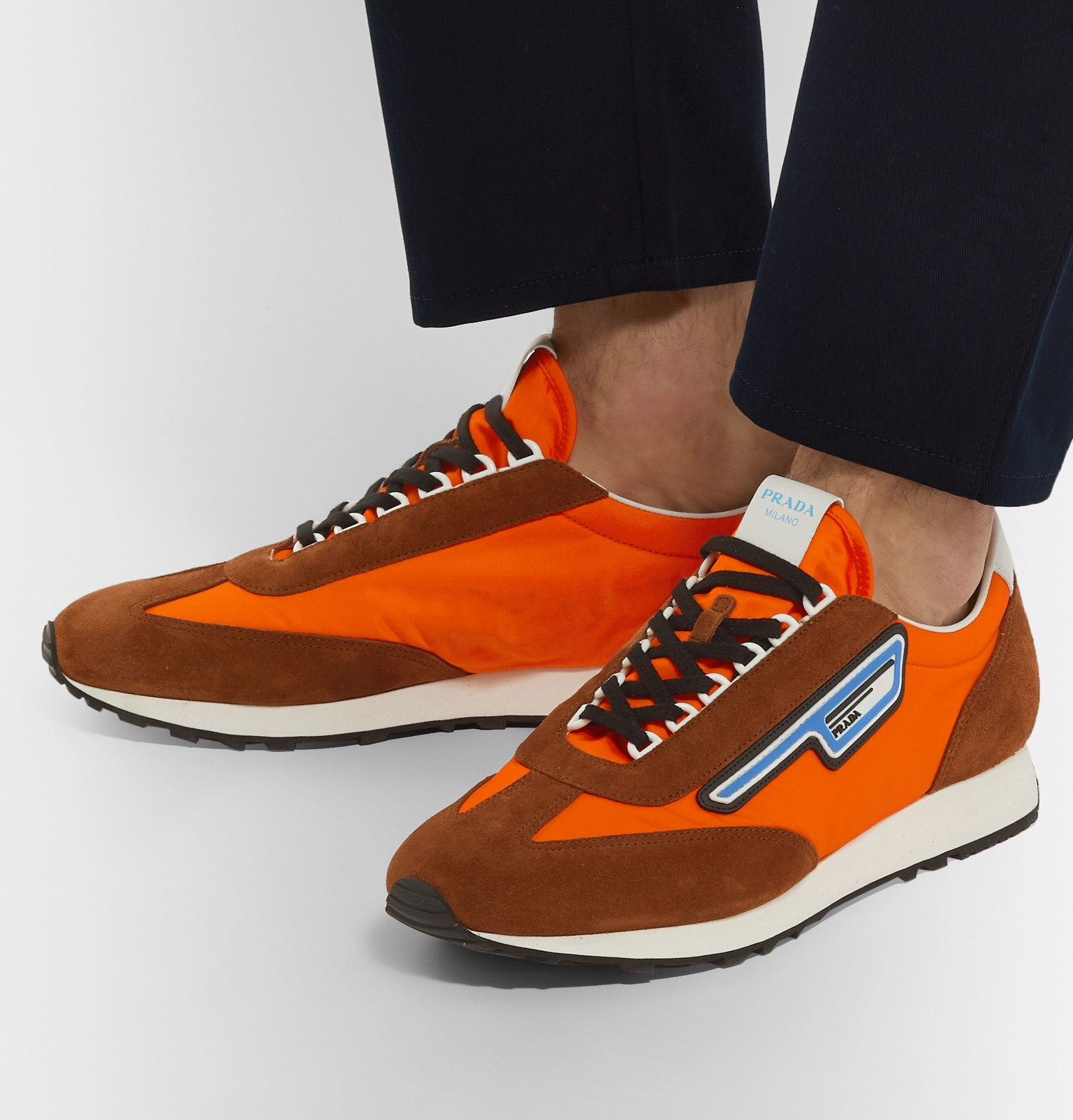 Leather-Trimmed Nylon Sneakers