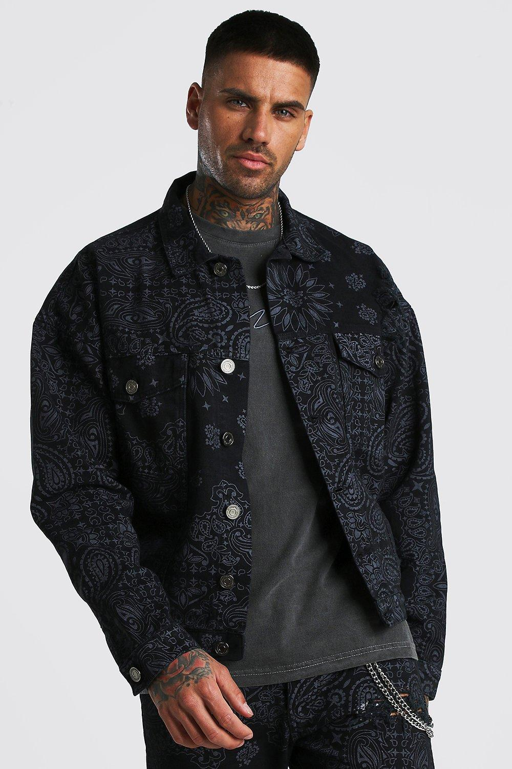 Bandana Print Denim Jacket By Boohooman Thread Com
