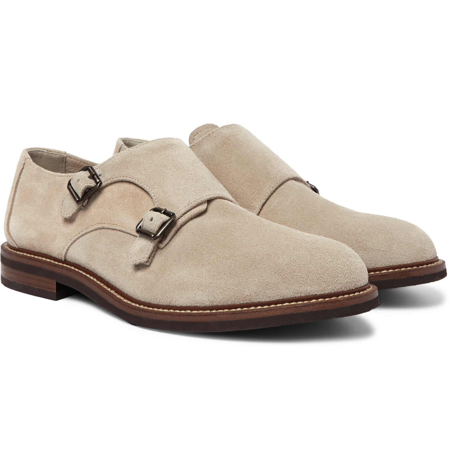 Suede Monk-Strap Shoes by Brunello