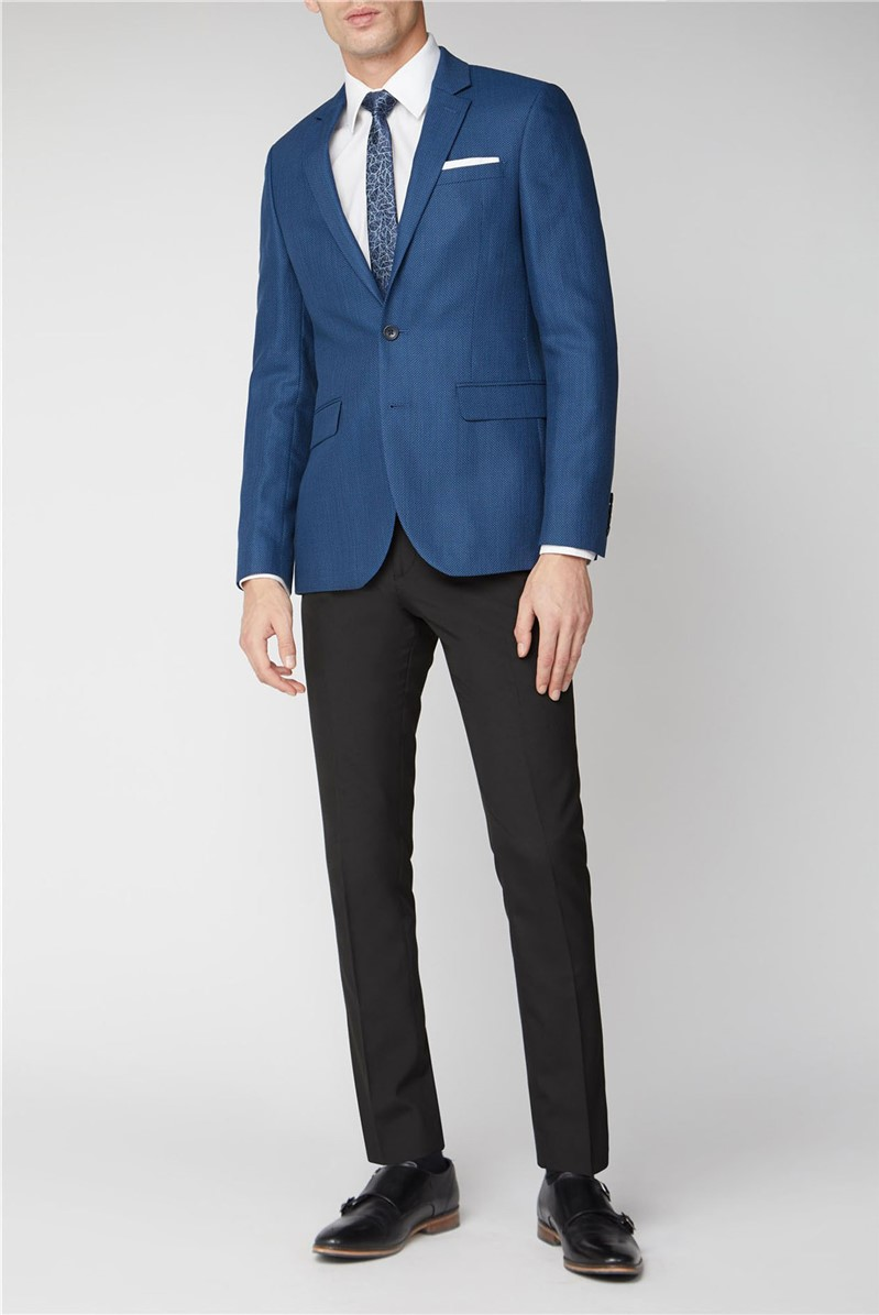 Blue Grid Texture Jacket By Austin Reed Thread