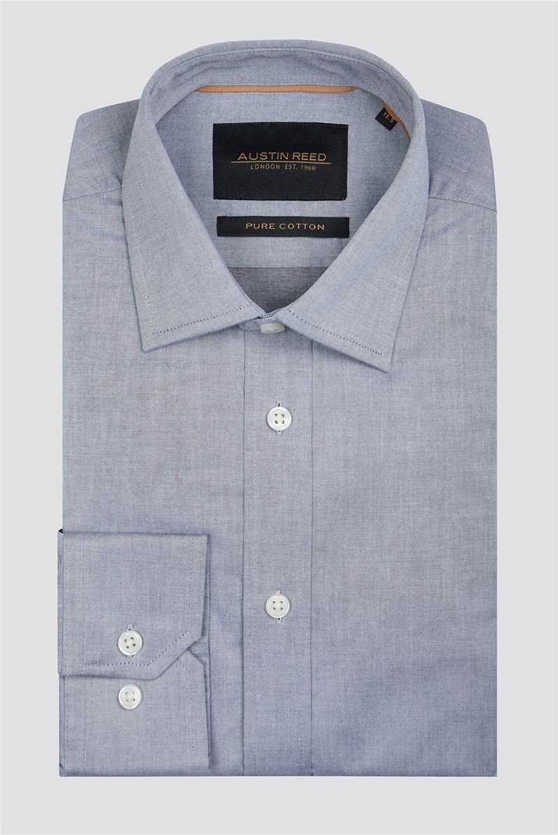 Branded Grey Twill Shirt By Austin Reed Thread